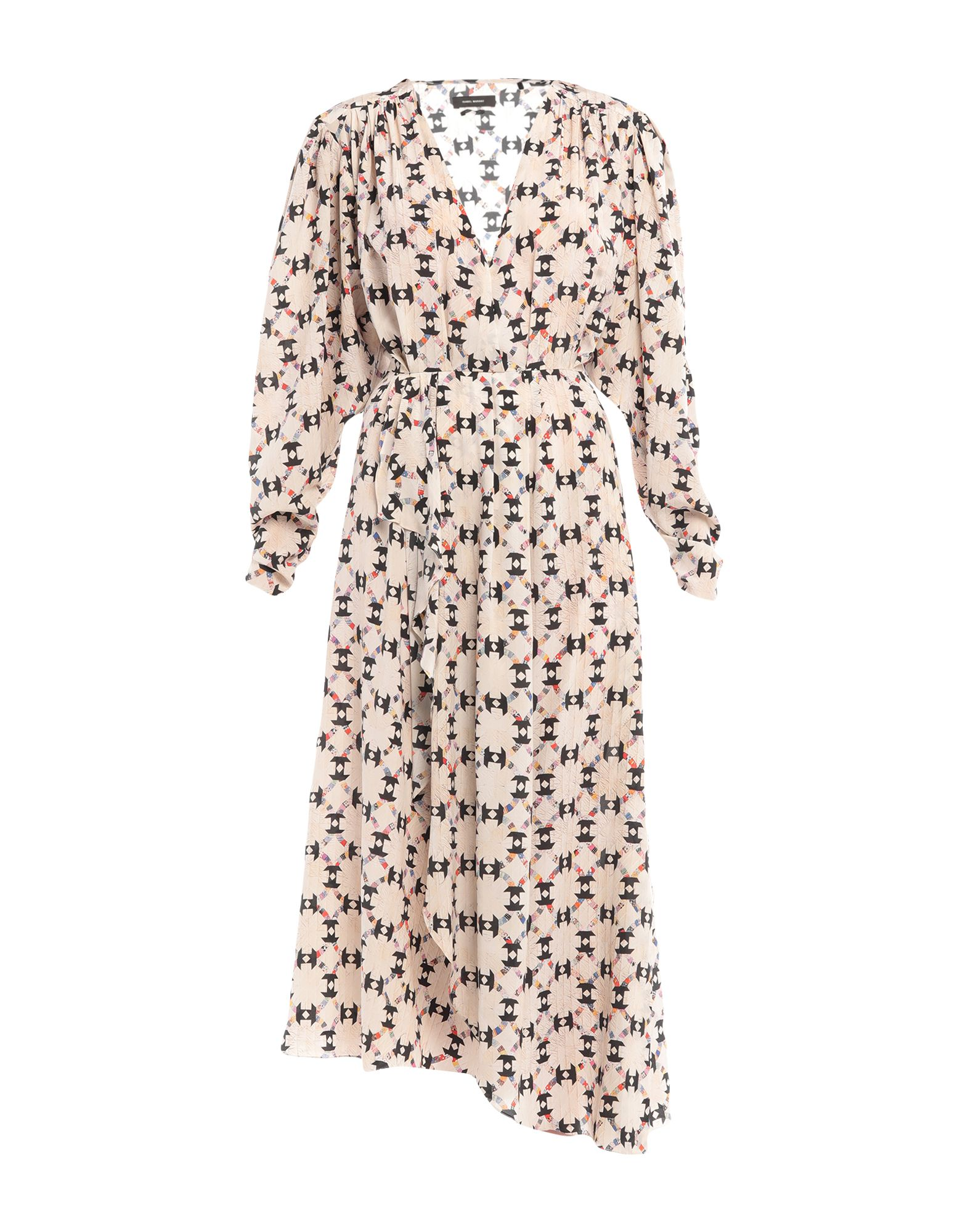 ISABEL MARANT Long dresses. crepe, folds, ruffles, geometric design, v-neck, long sleeves, no pockets, side closure, zipper closure, unlined, stretch. 91% Silk, 9% Elastane