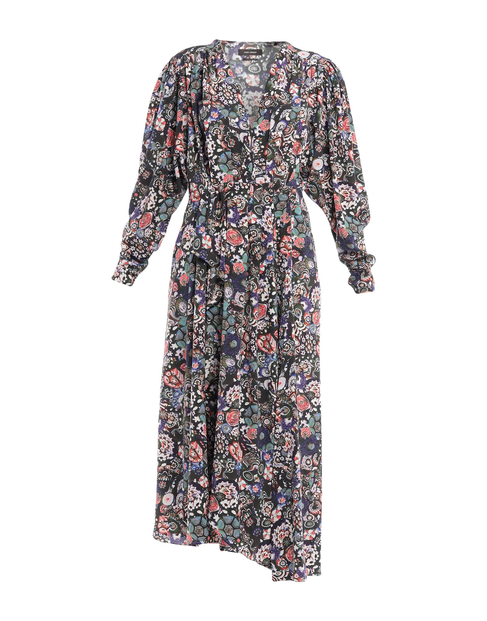 ISABEL MARANT Long dresses. crepe, folds, floral design, v-neck, 3/4 length sleeves, no pockets, side closure, zipper closure, unlined, stretch. 91% Silk, 9% Elastane