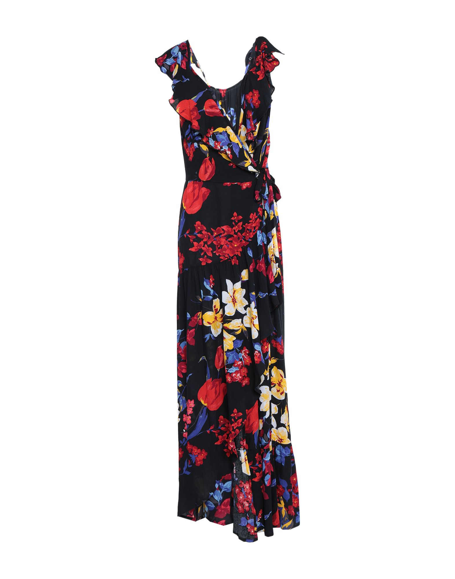 BAND OF GYPSIES Long dresses. plain weave, ruffles, floral design, deep neckline, sleeveless, no pockets, front closure, self-tie wrap closure, unlined. 100% Viscose