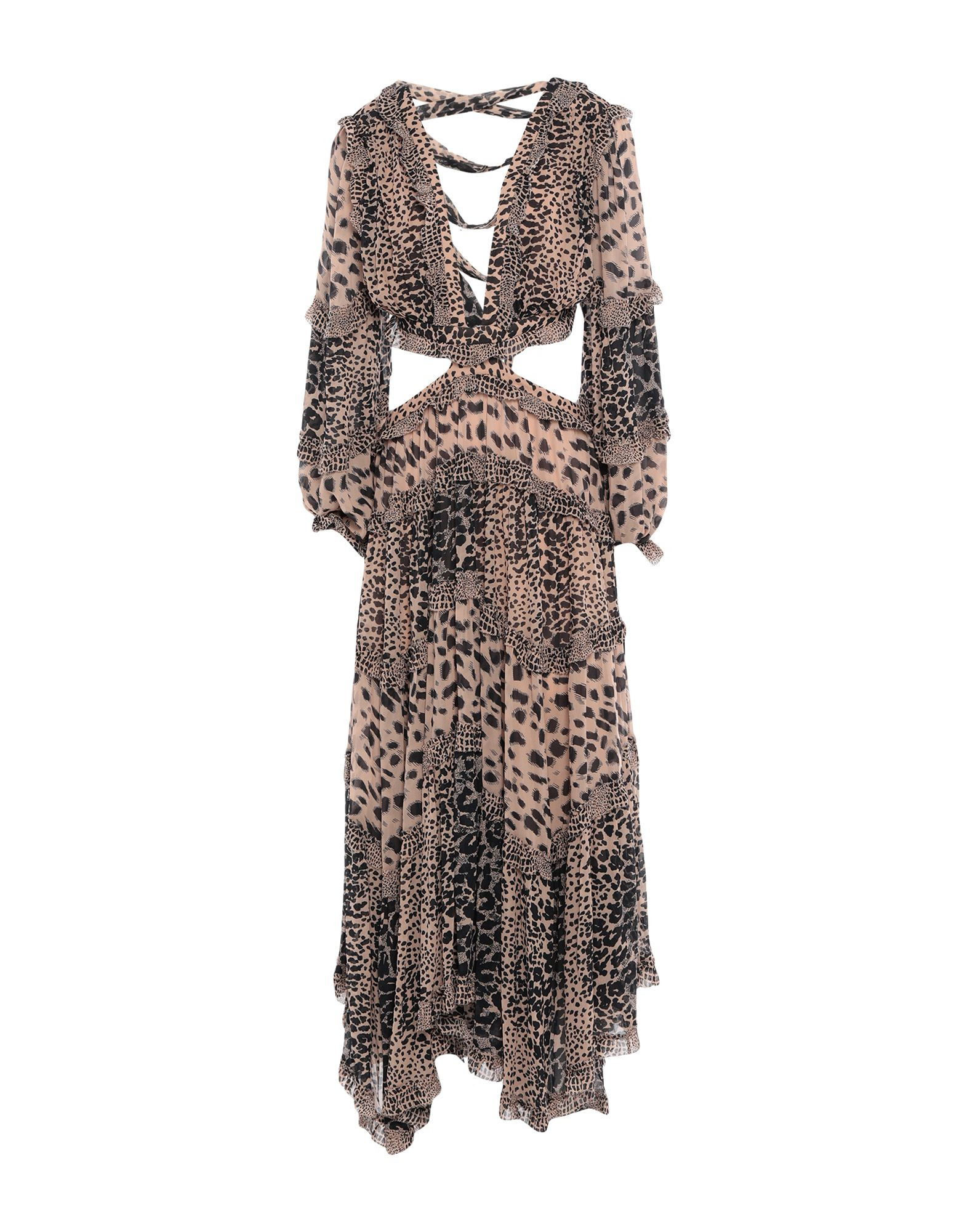 ZIMMERMANN Long dresses. crepe, ruffles, tassels, leopard-print, deep neckline, no pockets, long sleeves, side closure, zipper closure, fully lined. 100% Viscose