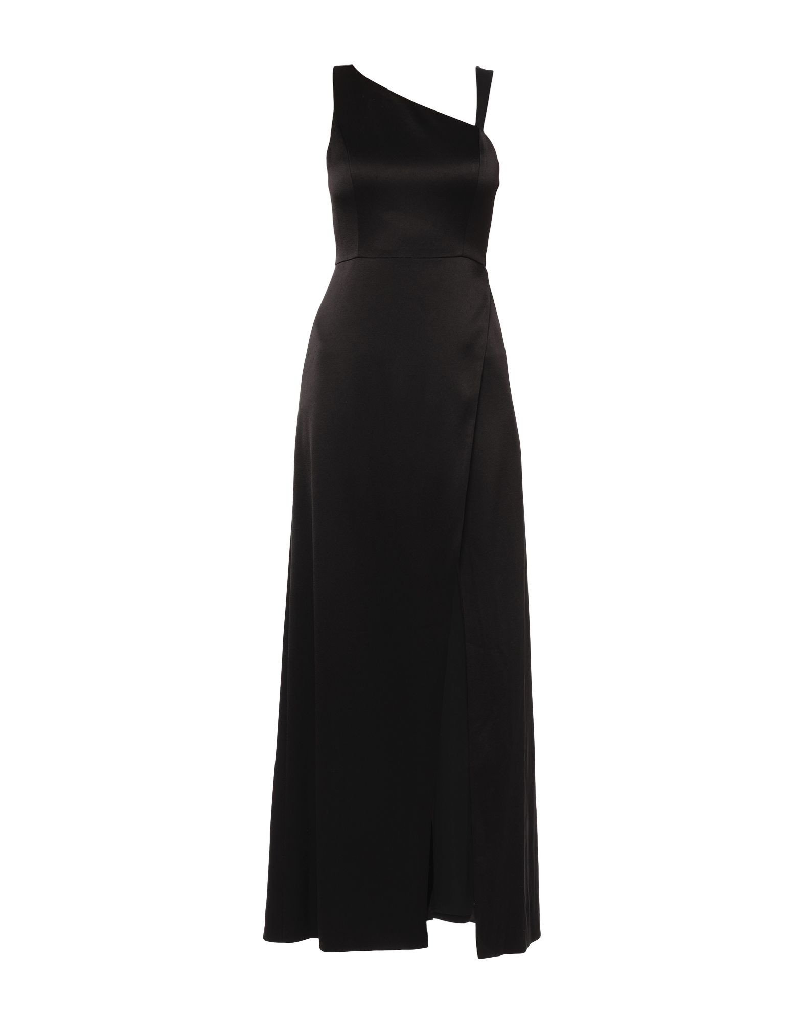 ALICE + OLIVIA Long dresses. leather, satin, no appliqués, solid color, round collar, sleeveless, rear closure, unlined, contains non-textile parts of animal origin. 75% Triacetate, 25% Polyester, Lambskin