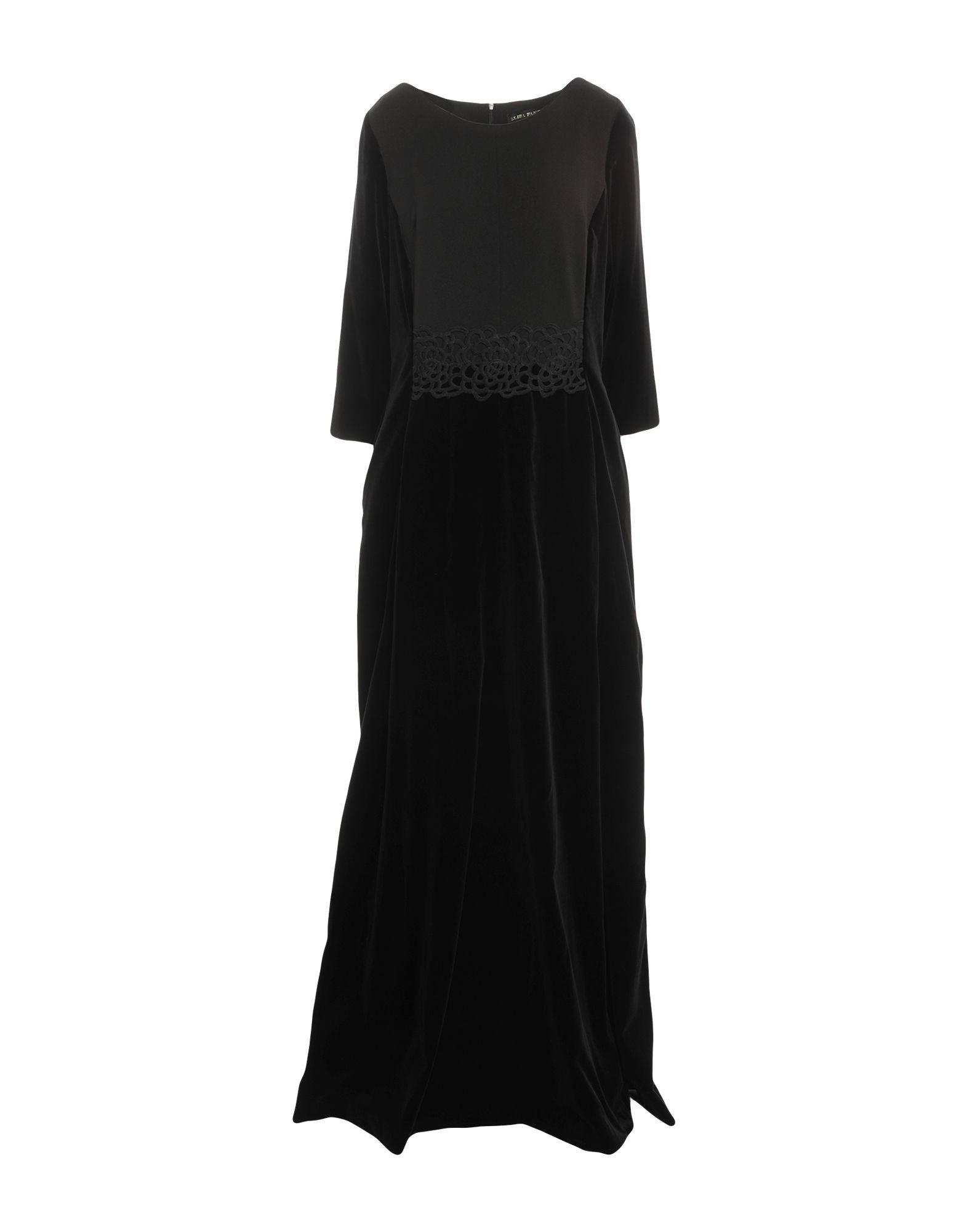 《セール開催中》ELISA FANTI レディース ロングワンピース&ドレス ブラック 48 ポリエステル 94% / ポリウレタン 6% / コットン / レーヨン