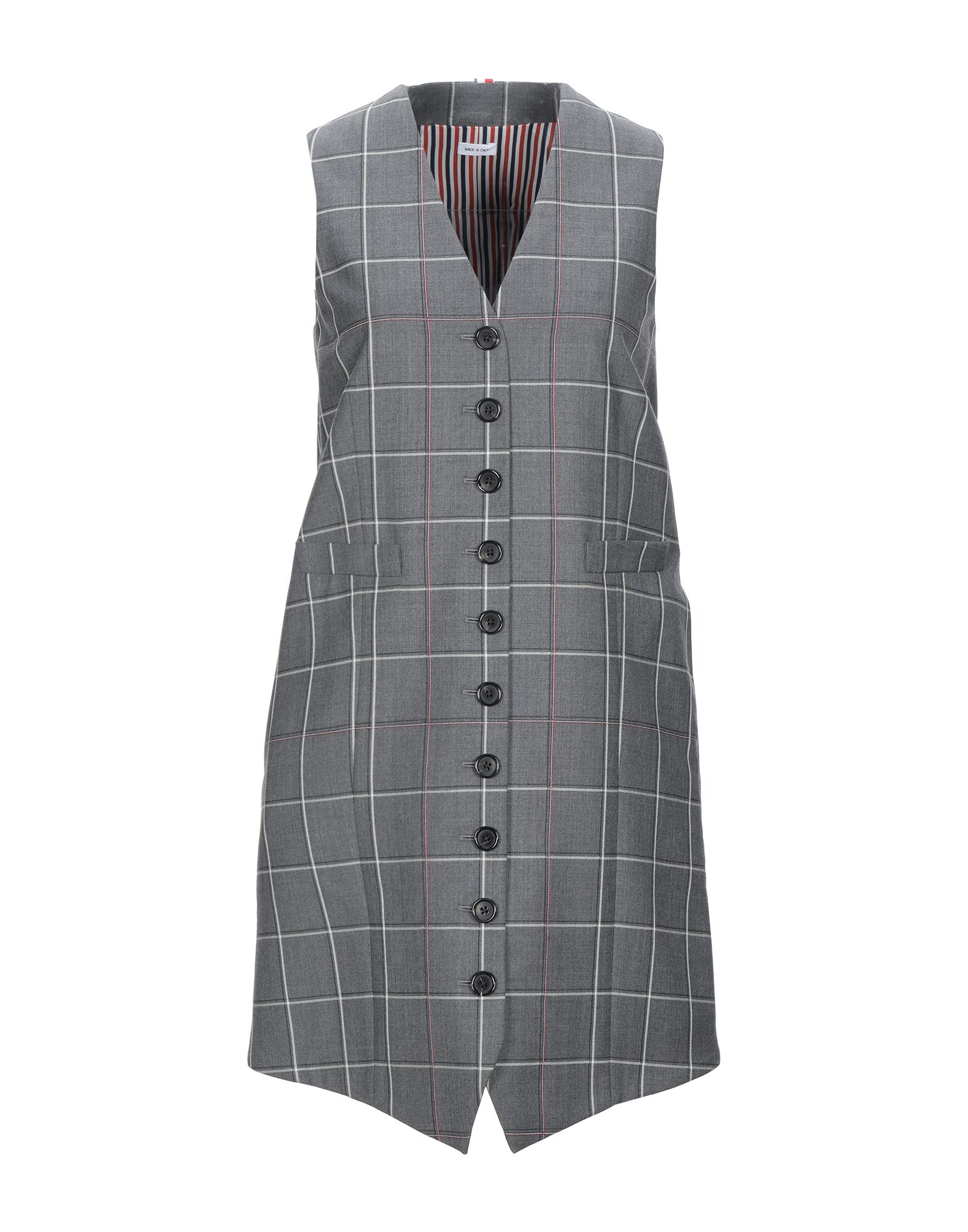 THOM BROWNE Short dresses. twill, embroidered detailing, contrasting applications, checked, v-neck, sleeveless, multipockets, front closure, button closing, fully lined. 100% Wool