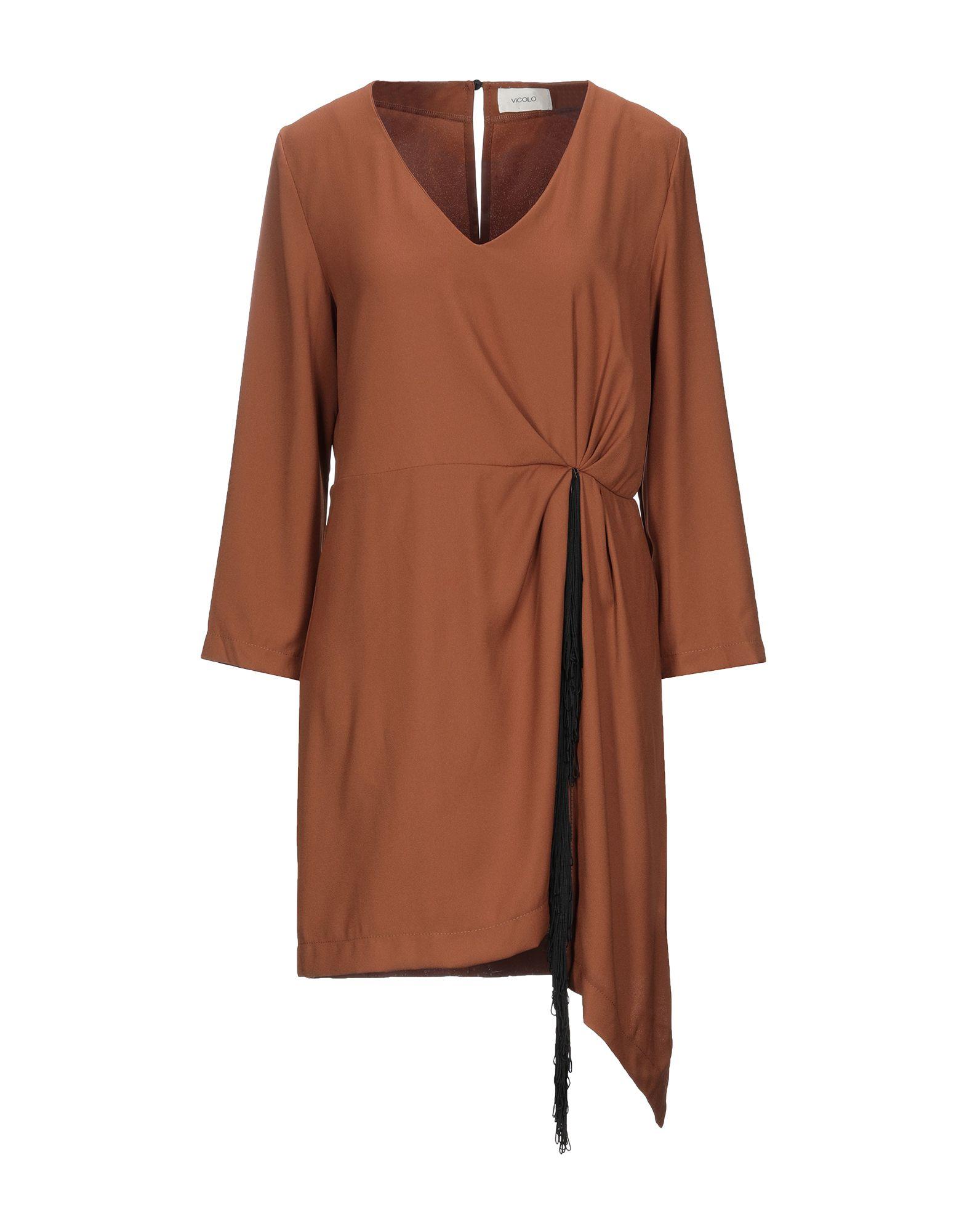 《セール開催中》VICOLO レディース ミニワンピース&ドレス ブラウン L ポリエステル 100%