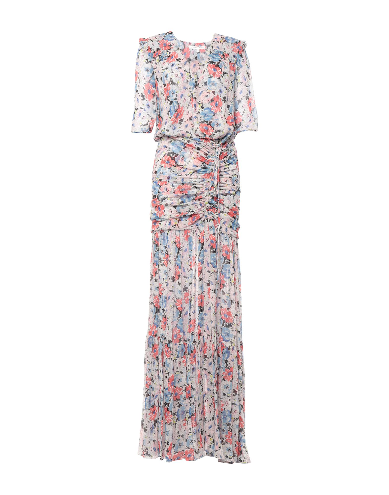 VERONICA BEARD Long dresses. chiffon, no appliqués, floral design, deep neckline, short sleeves, no pockets, no fastening, unlined. 100% Silk
