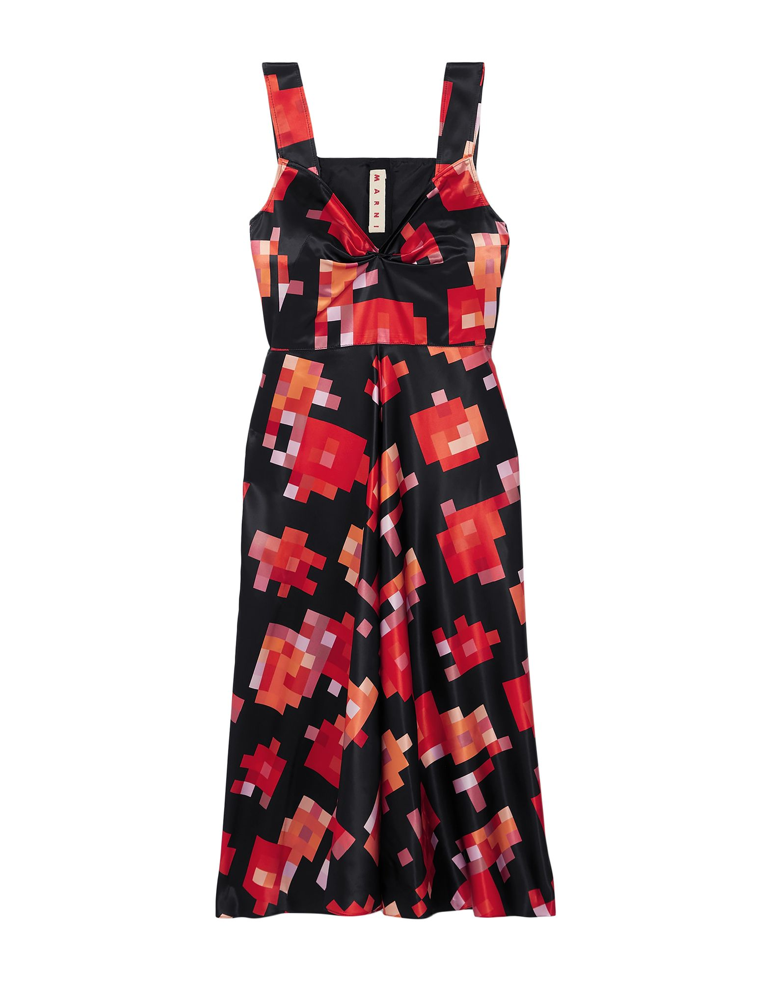 MARNI 3/4 length dresses. satin, frills, multicolor pattern, deep neckline, sleeveless, no pockets, rear closure, hook-and-bar, zip, unlined. 100% Viscose