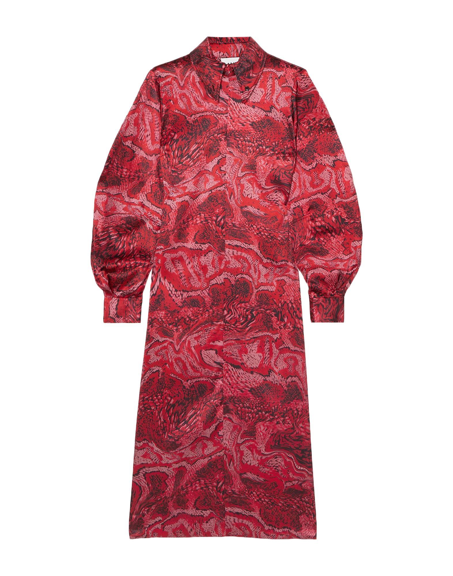 GANNI 3/4 length dresses. satin, no appliqués, multicolor pattern, classic neckline, long sleeves, no pockets, front closure, zipper closure, unlined, stretch. 92% Silk, 8% Elastane