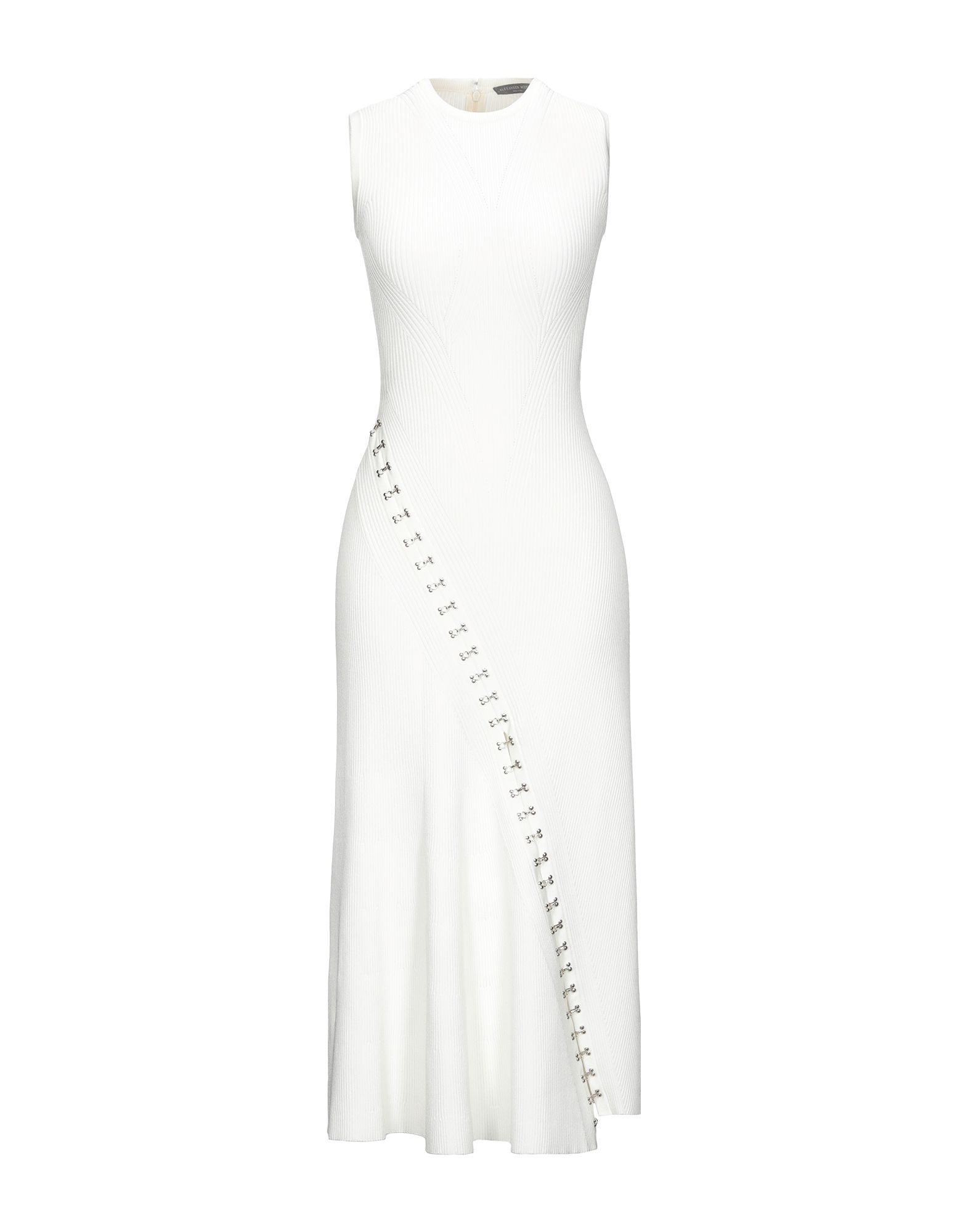 ALEXANDER MCQUEEN 3/4 length dresses. knitted, no appliqués, basic solid color, lightweight knit, round collar, sleeveless, no pockets, rear closure, zipper closure, unlined. 83% Viscose, 17% Polyester, Metal