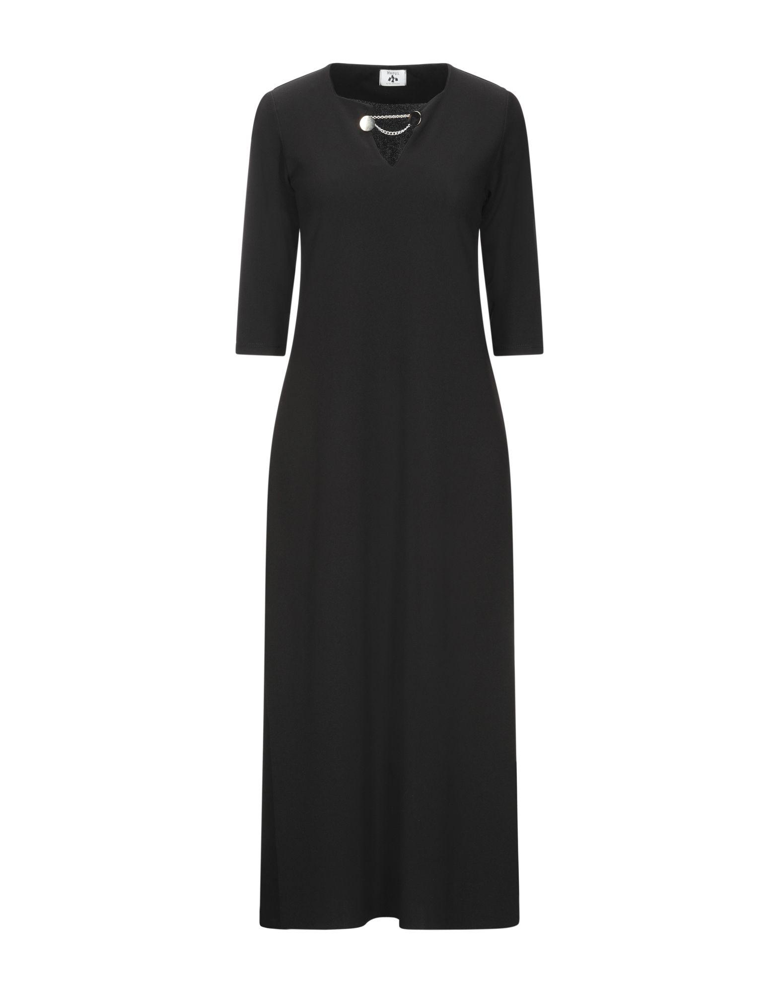 《セール開催中》MAR?I by GIL SANTUCCI レディース 7分丈ワンピース・ドレス ブラック S ポリエステル 95% / ポリウレタン 5%
