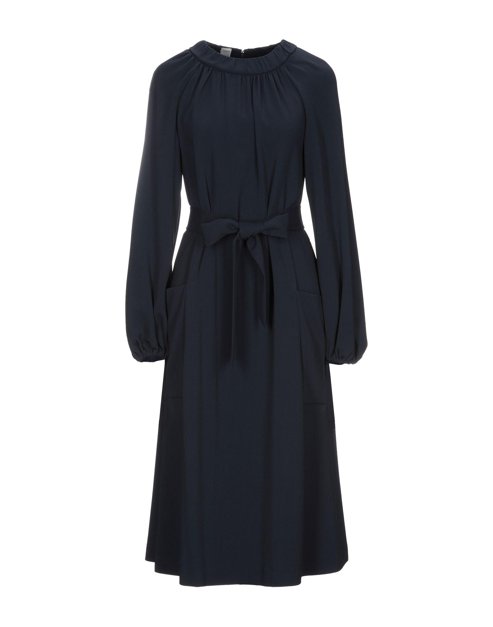 ELEVENTY 3/4 length dresses. crepe, belt, rhinestones, basic solid color, round collar, long sleeves, multipockets, rear closure, zipper closure, unlined, stretch. 51% Viscose, 46% Acetate, 3% Elastane