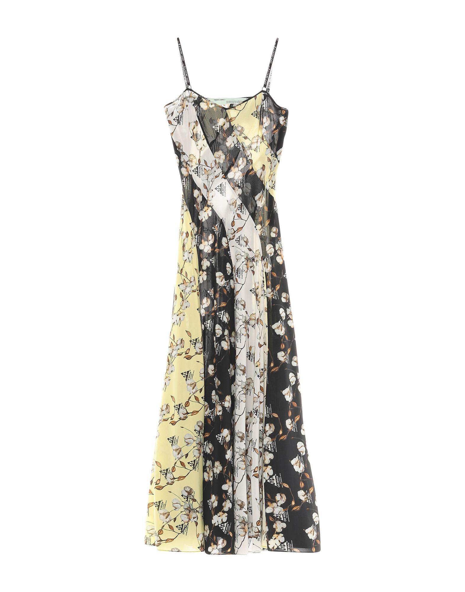 OFF-WHITE™ Long dresses. crepe, multicolor pattern, deep neckline, sleeveless, no pockets, side closure, zipper closure, unlined, stretch. 97% Viscose, 3% Elastane