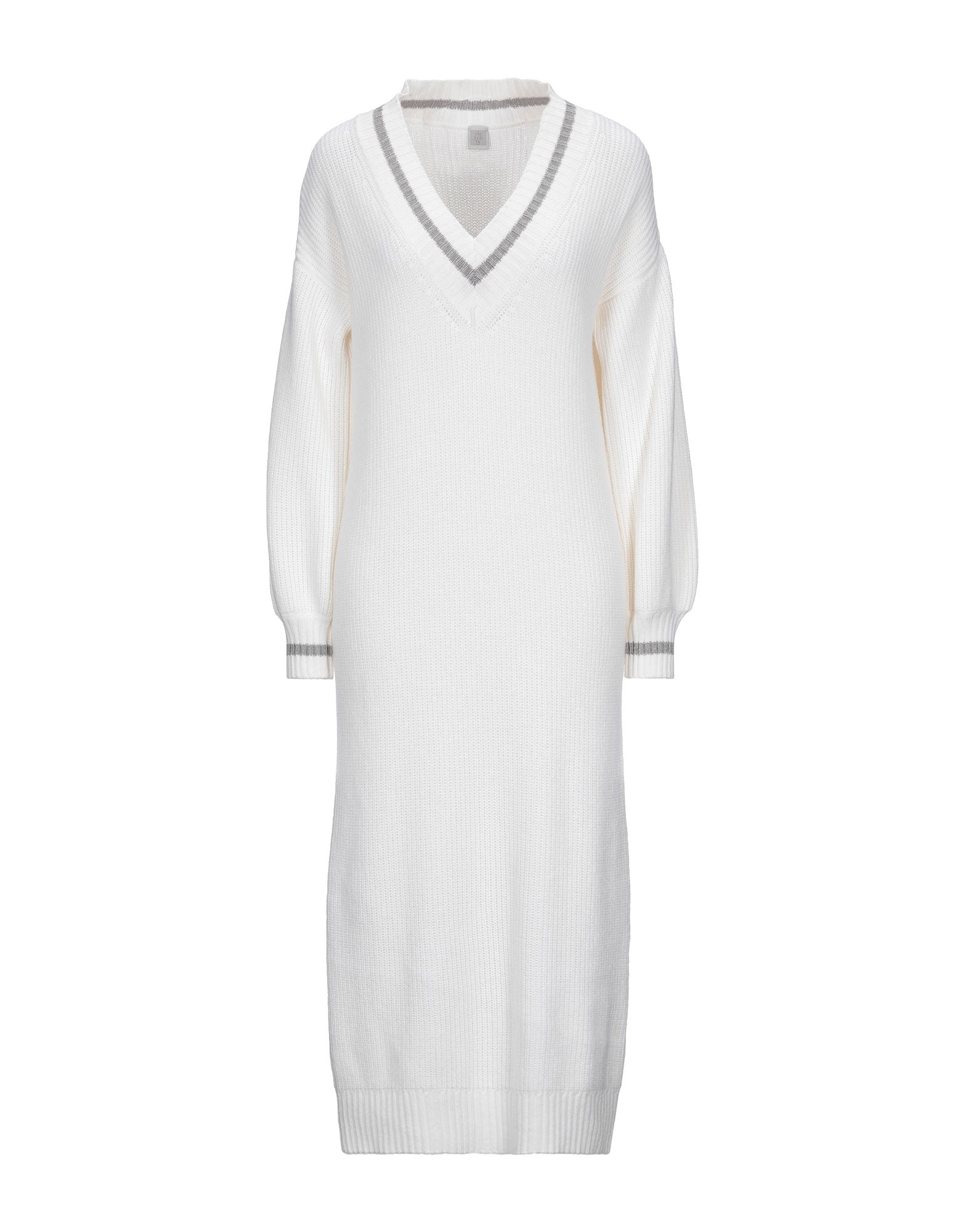ELEVENTY Knee-length dresses. knitted, cable stitch, no appliqués, solid color, lightweight knit, v-neck, long sleeves, no pockets, unlined. 45% Wool, 30% Viscose, 25% Cashmere