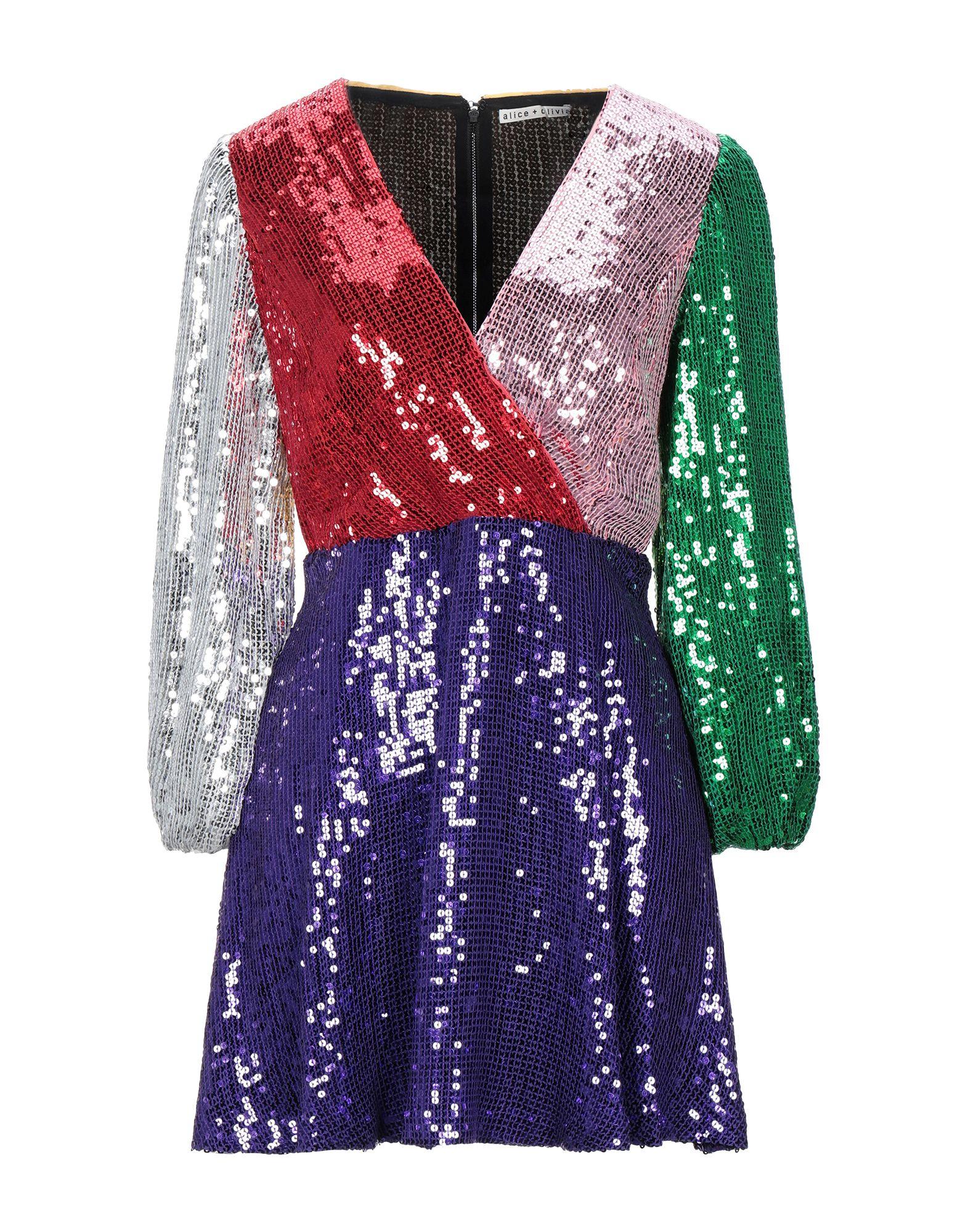ALICE + OLIVIA Short dresses. crepe, sequins, multicolor pattern, deep neckline, long sleeves, no pockets, rear closure, zipper closure, fully lined. 100% Viscose