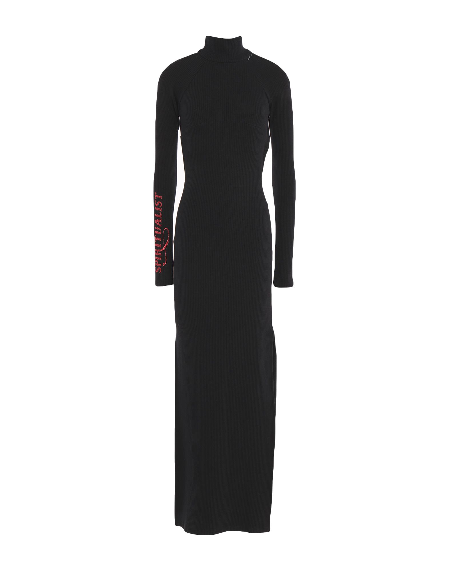 MARCELO BURLON Long dresses. jersey, ribbed, glitter, logo, solid color, turtleneck, long sleeves, dual side vents, unlined, stretch. 95% Cotton, 5% Elastane