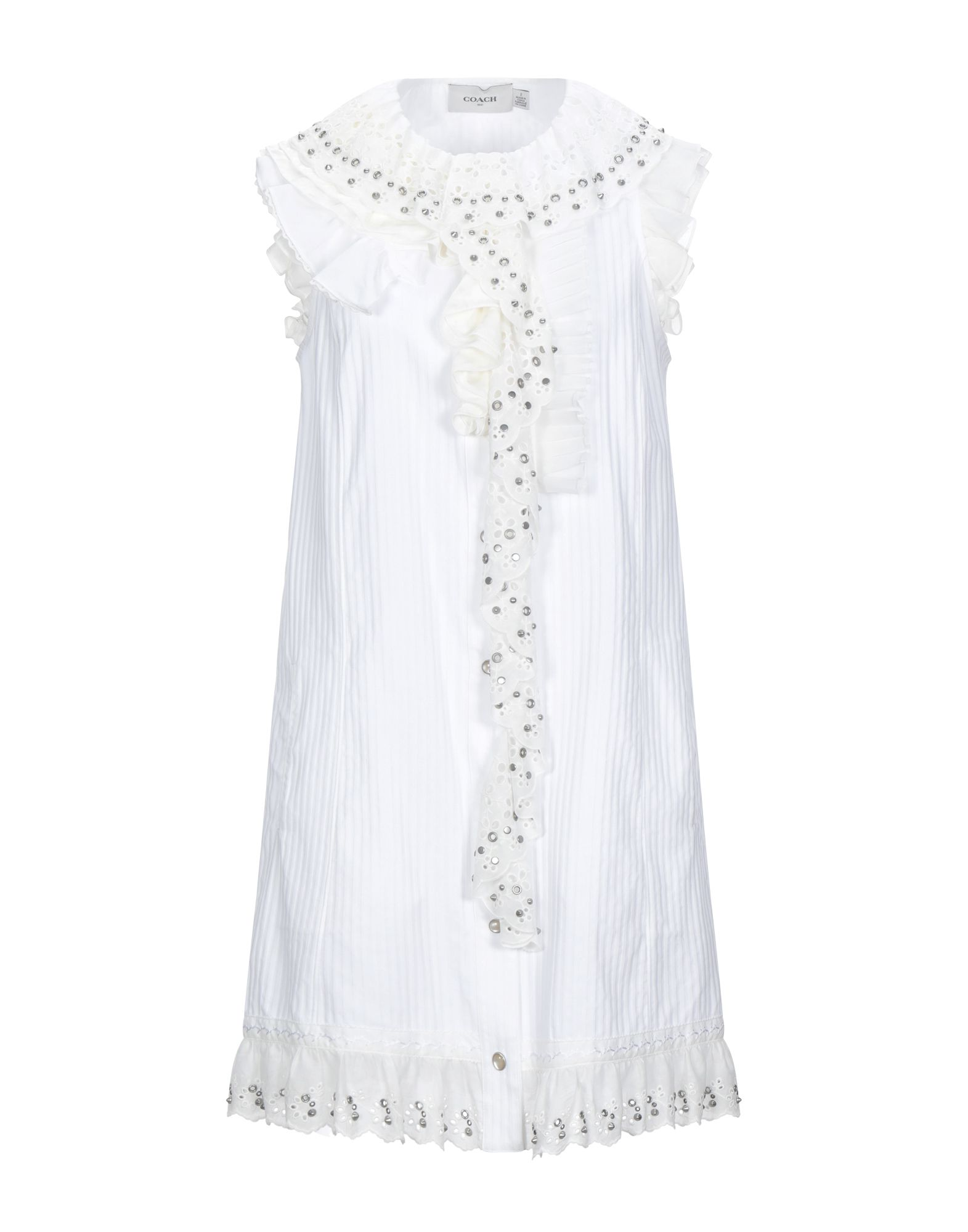 COACH Short dresses. lace, plain weave, ruffles, studs, solid color, round collar, short sleeves, no pockets, front closure, snap buttons fastening, unlined. 100% Cotton