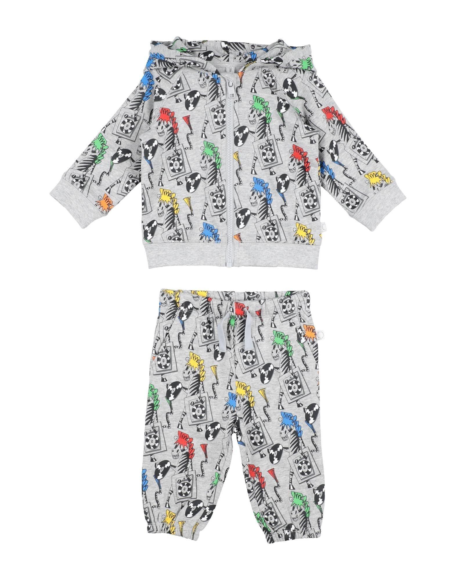 STELLA McCARTNEY KIDS Baby sweatsuits. sweatshirt fleece, logo, cartoon print, hooded collar, long sleeves, zipper closure, front closure, fleece lining, 2-piece set, wash at 30degree c, do not dry clean, iron at 150degree c max, do not bleach, tumble dryable. 100% Cotton