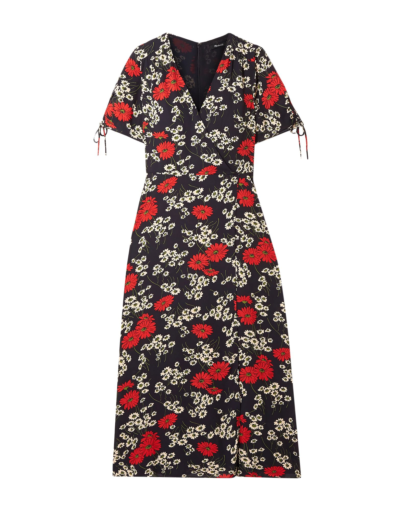 MADEWELL 3/4 length dresses. crepe, laces, floral design, v-neck, short sleeves, no pockets, rear closure, zipper closure, semi-lined. 100% Polyester