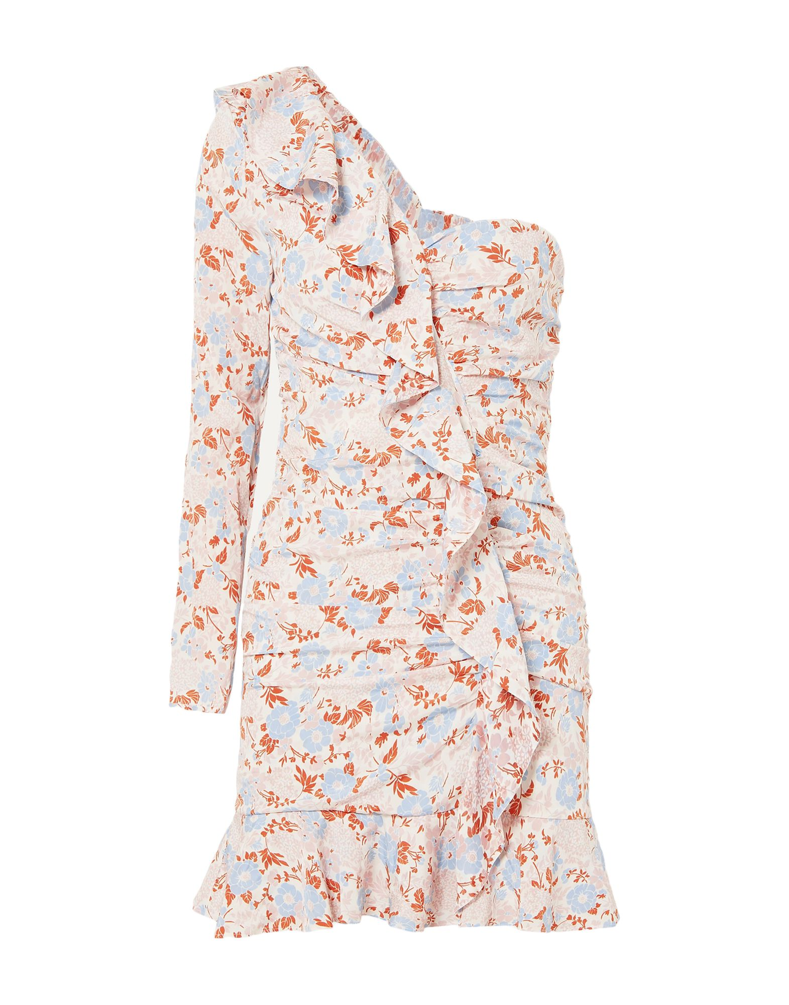 VERONICA BEARD Short dresses. crepe, no appliqués, floral design, wide neckline, long sleeves, no pockets, side closure, zipper closure, fully lined, stretch. 91% Silk, 9% Elastane