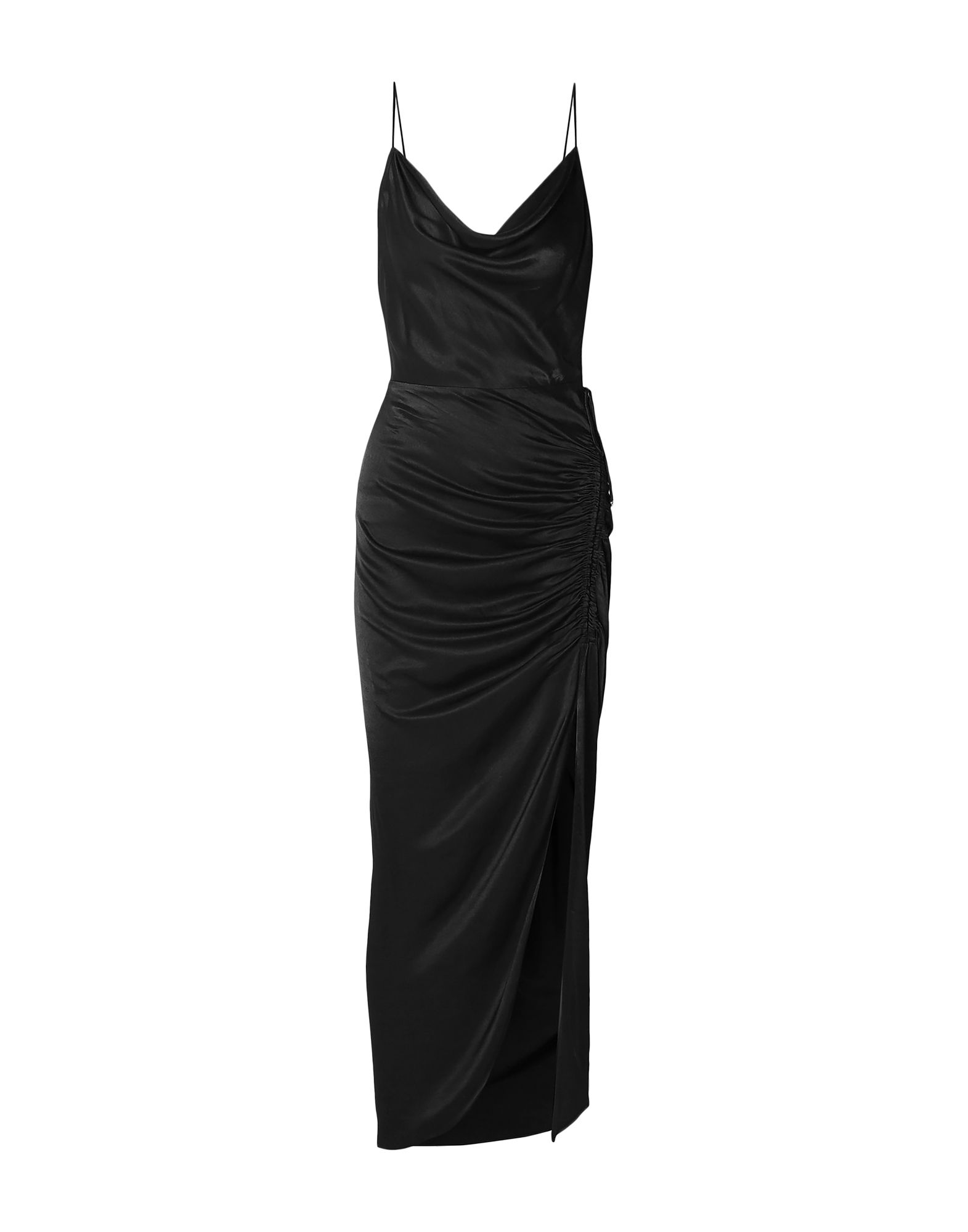 VERONICA BEARD Long dresses. satin, frills, laces, solid color, collar with draped neckline, sleeveless, no pockets, side closure, zipper closure, unlined. 100% Viscose
