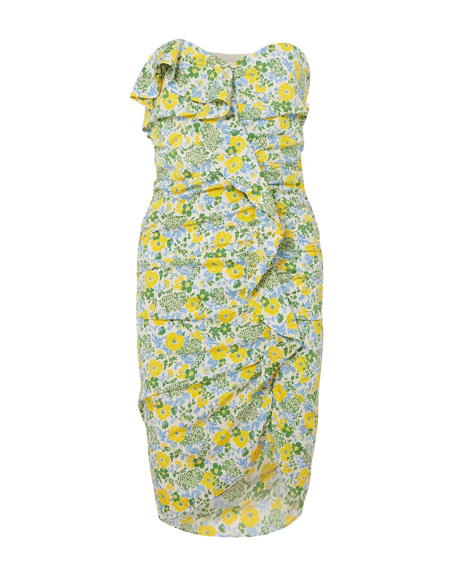 VERONICA BEARD Knee-length dresses. plain weave, frills, ruffles, floral design, deep neckline, sleeveless, no pockets, side closure, hook-and-bar, zip, inside with stays, stretch. 91% Silk, 9% Elastane