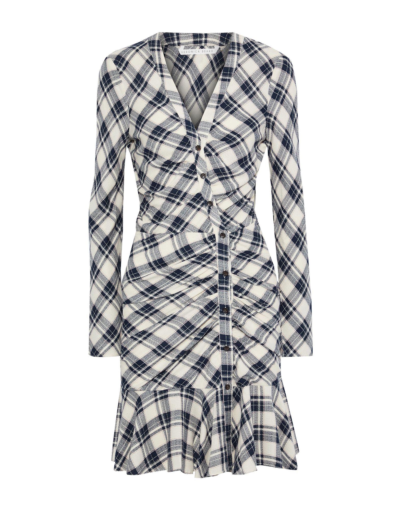 VERONICA BEARD Short dresses. plain weave, no appliqués, tartan plaid, long sleeves, no pockets, deep neckline, fully lined. 100% Viscose