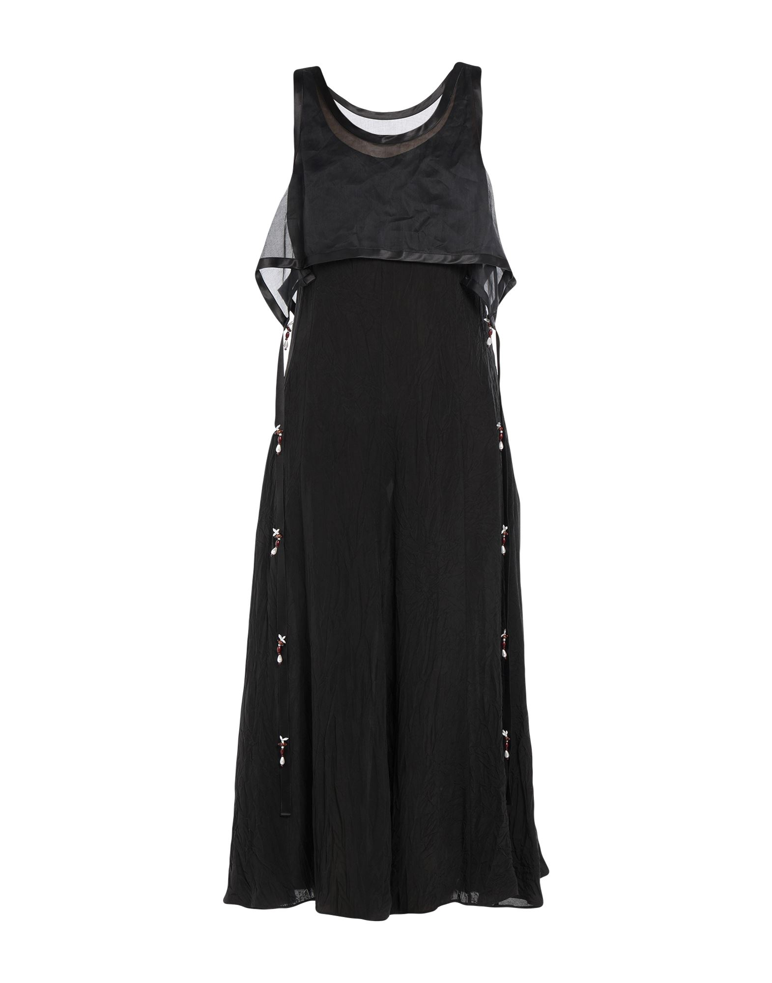 LOEWE Long dresses. organza, plain weave, beads, solid color, round collar, sleeveless, no pockets, no fastening, unlined. 100% Viscose, Cotton, Polyester