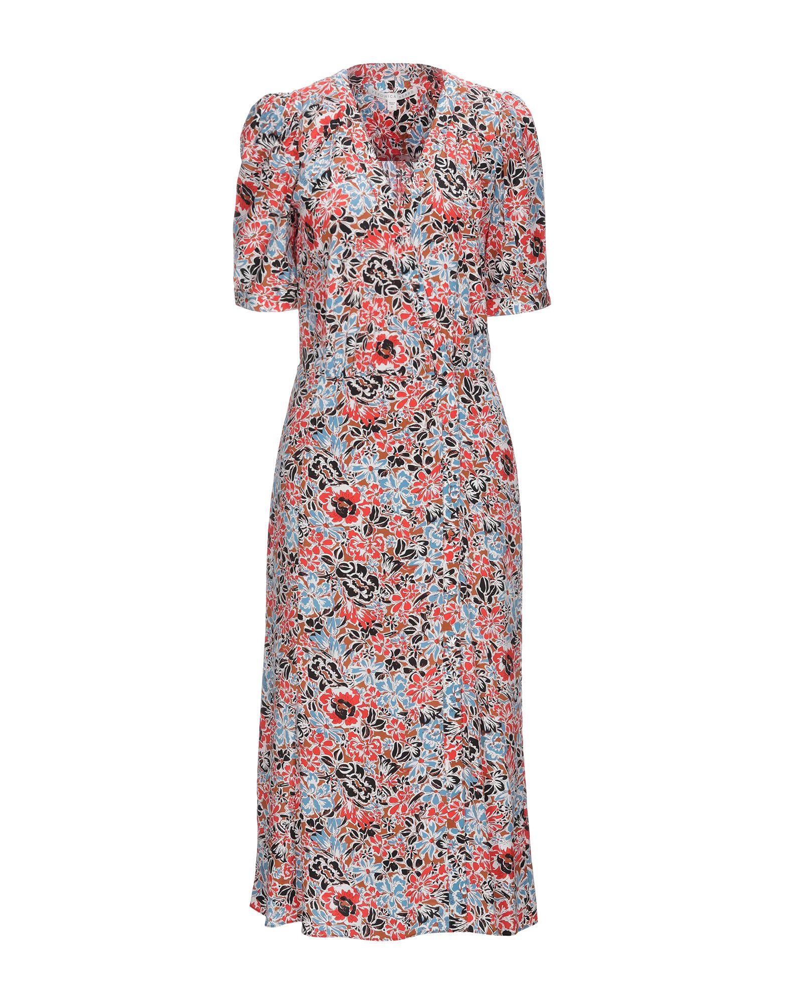 VERONICA BEARD 3/4 length dresses. crepe, no appliqués, floral design, v-neck, short sleeves, no pockets, front closure, unlined, stretch, button closing. 91% Silk, 9% Elastane