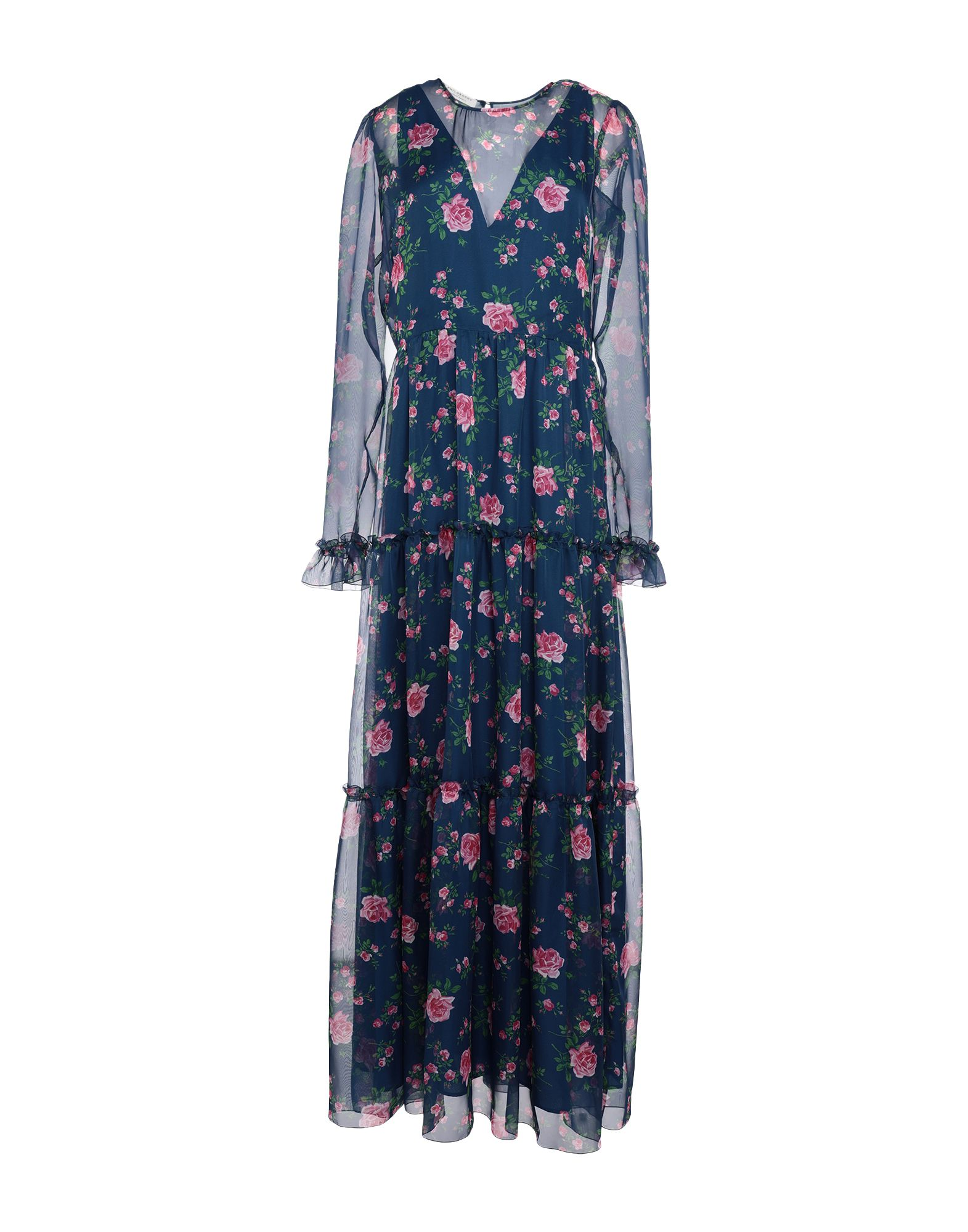 PHILOSOPHY di LORENZO SERAFINI Long dresses. crepe, no appliqués, floral design, round collar, long sleeves, no pockets, side closure, zipper closure, fully lined. 100% Polyester
