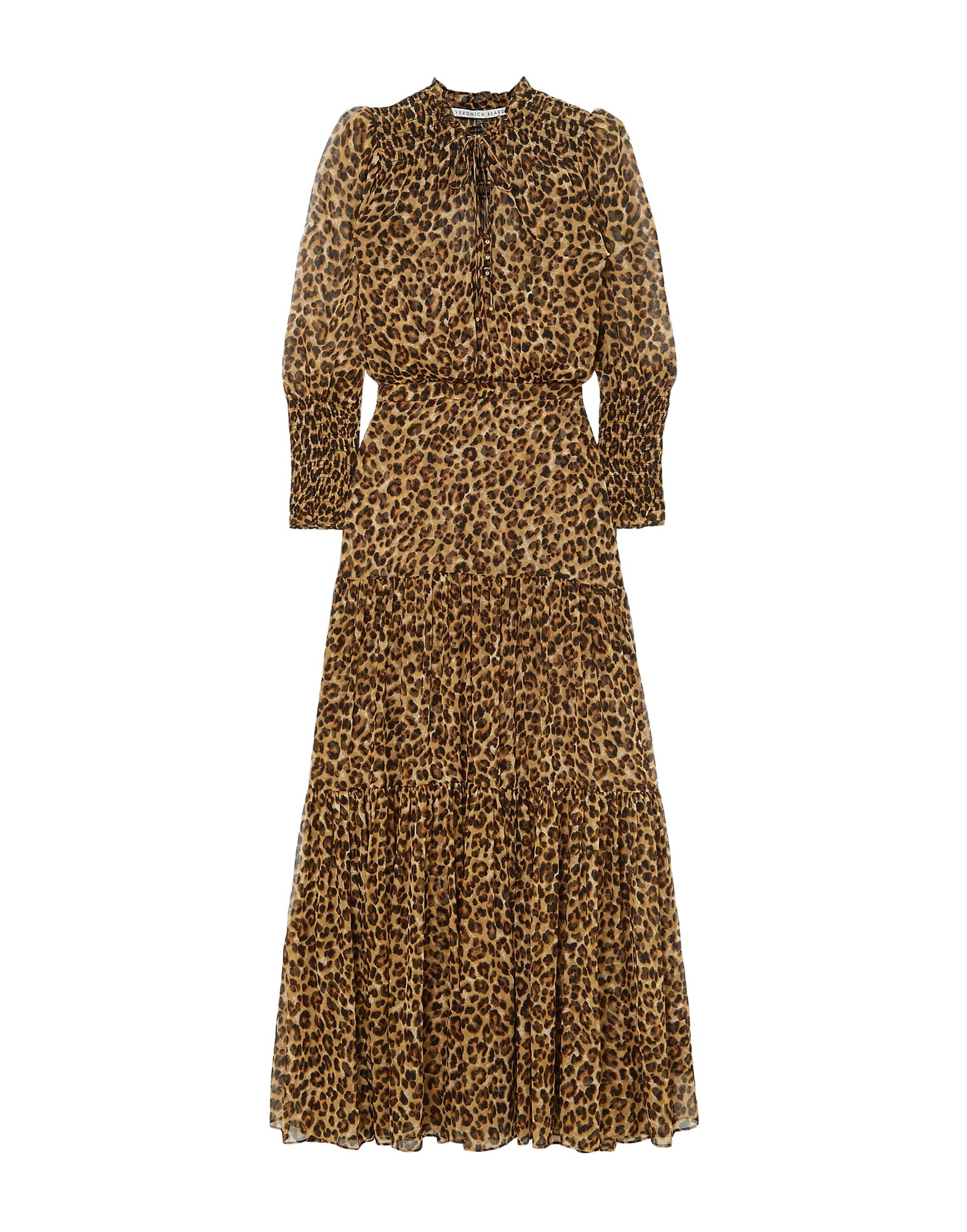 VERONICA BEARD Long dresses. crepe, detachable application, frills, leopard-print, deep neckline, long sleeves, no pockets, side closure, zipper closure, slip to line. 100% Silk