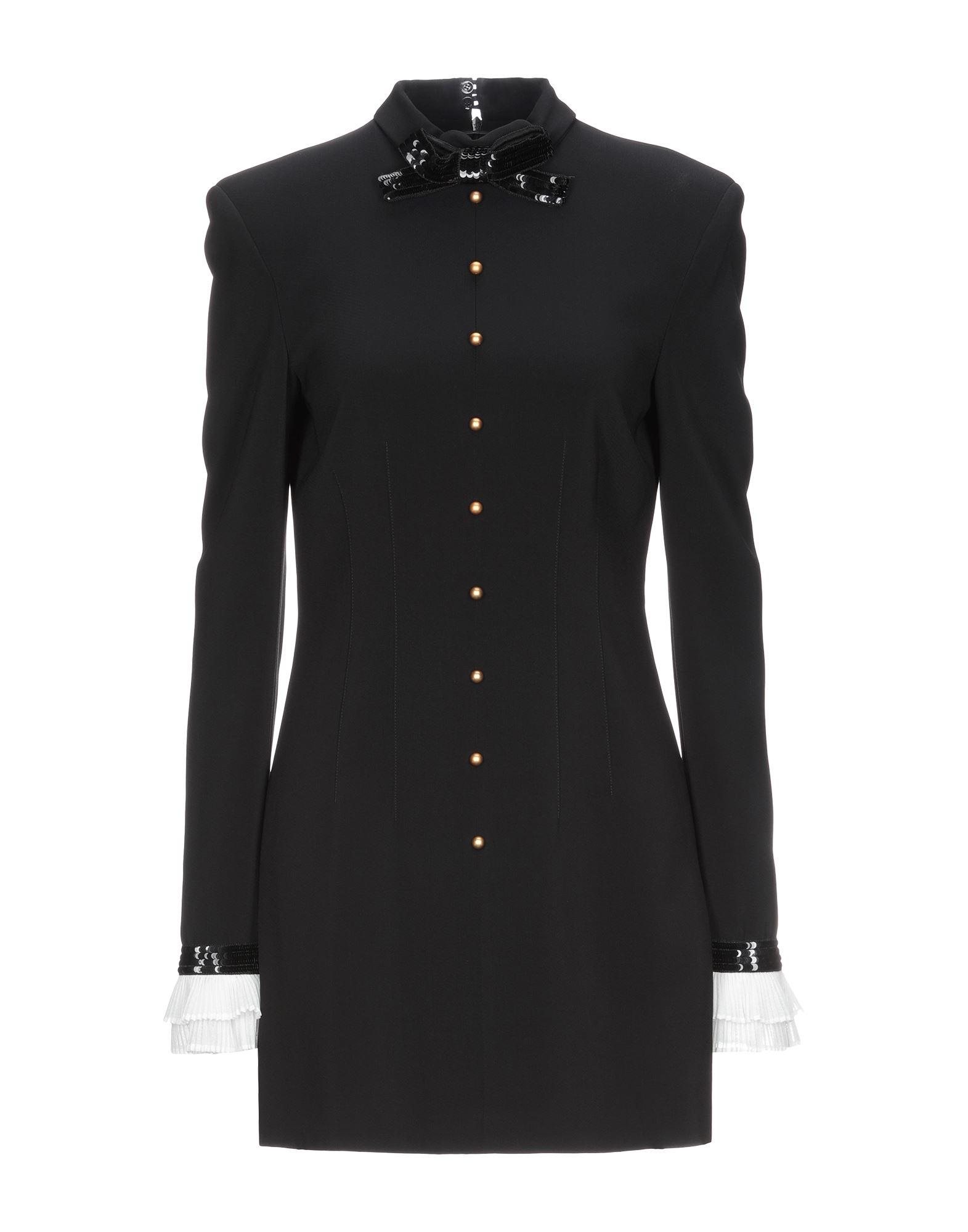 PHILOSOPHY di LORENZO SERAFINI Short dresses. crepe, sequins, solid color, turtleneck, long sleeves, no pockets, rear closure, zipper closure, fully lined, stretch. 96% Viscose, 4% Elastane