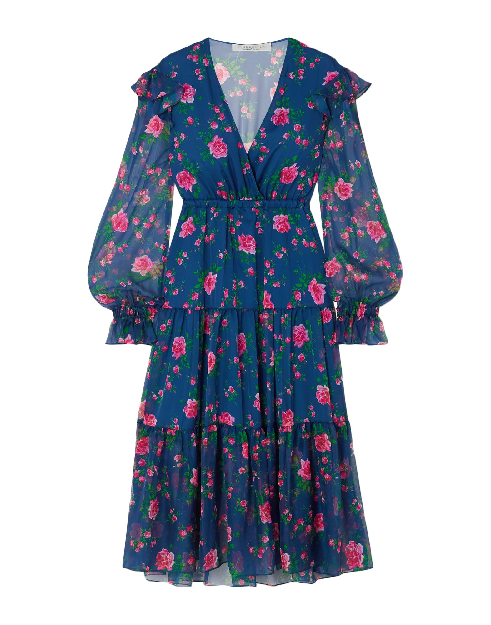 PHILOSOPHY di LORENZO SERAFINI 3/4 length dresses. voile, ruffles, floral design, deep neckline, long sleeves, no pockets, semi-lined, no fastening. 100% Polyester