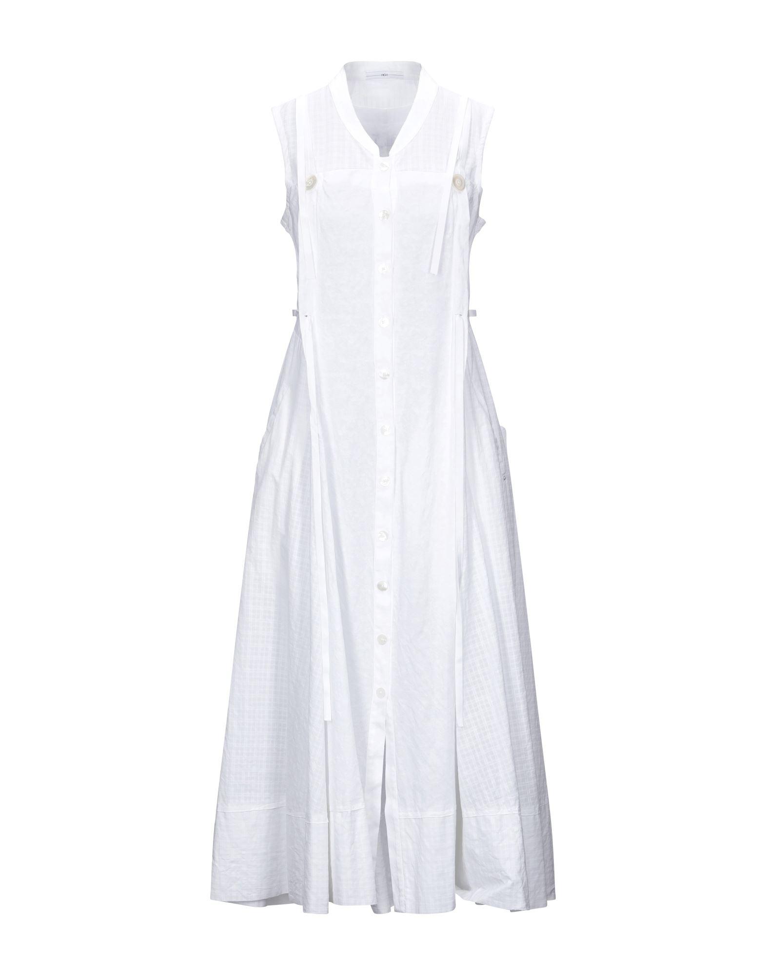 《セール開催中》HIGH by CLAIRE CAMPBELL レディース ロングワンピース&ドレス ホワイト 40 コットン 74% / リネン 26%