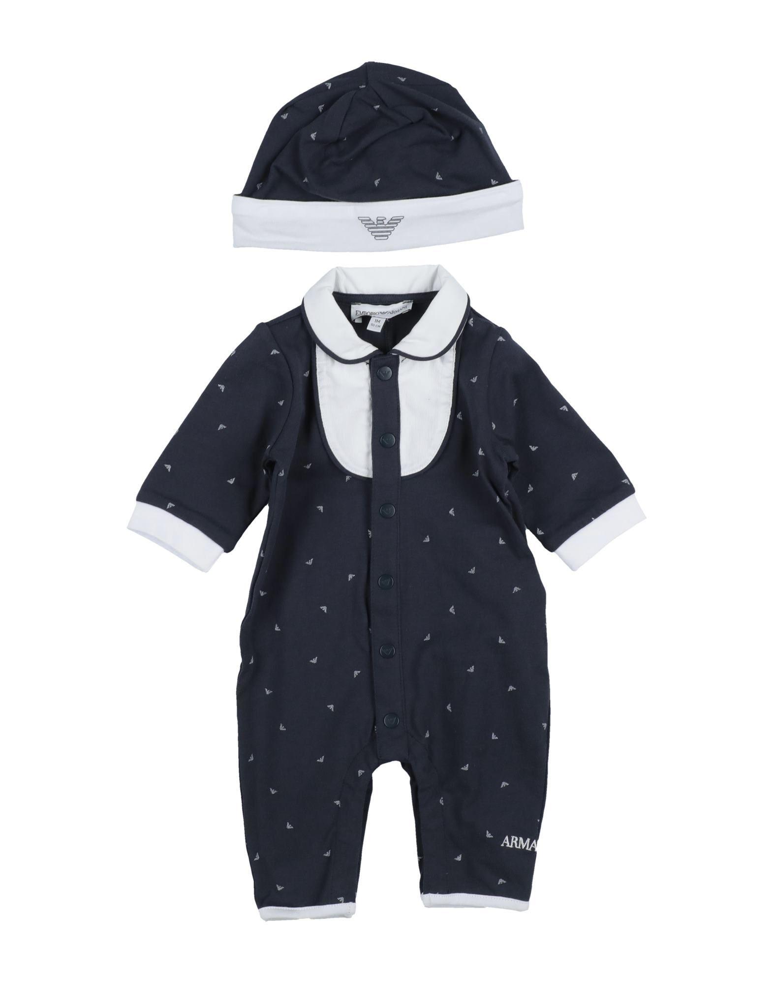 《セール開催中》EMPORIO ARMANI ボーイズ 0-24 ヶ月 乳幼児用ロンパース ダークブルー 9 コットン 100%