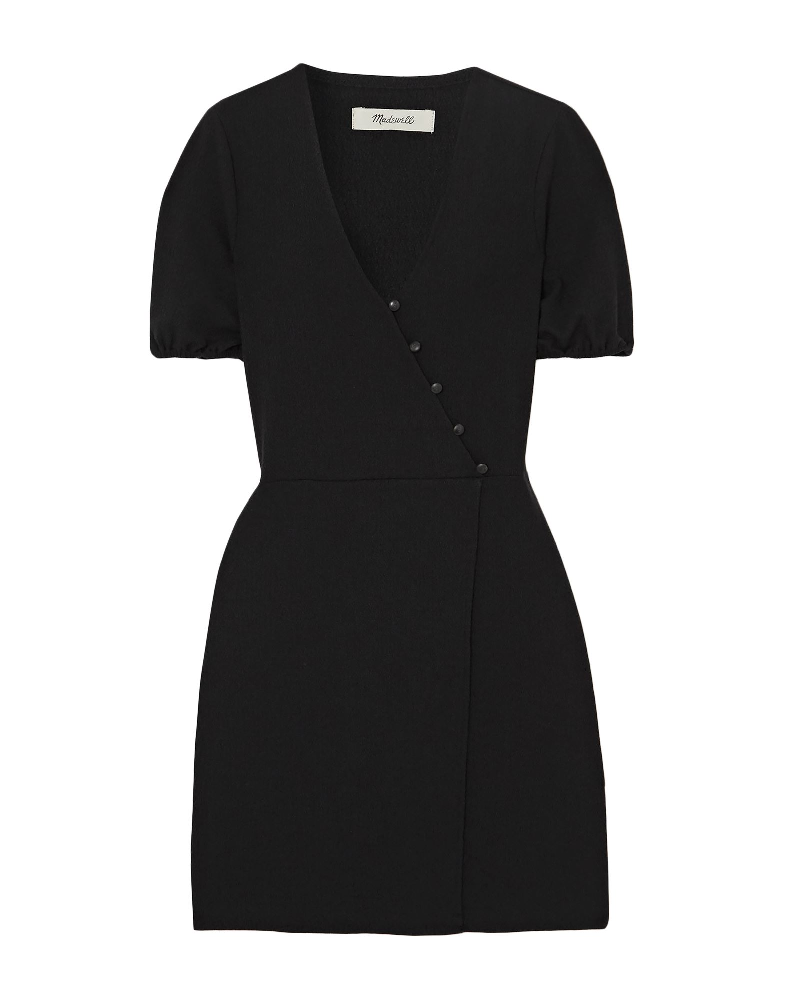 MADEWELL Short dresses. knitted, no appliqués, basic solid color, deep neckline, short sleeves, no pockets, front closure, button closing, unlined, stretch. 49% Polyester, 49% Viscose, 2% Elastane