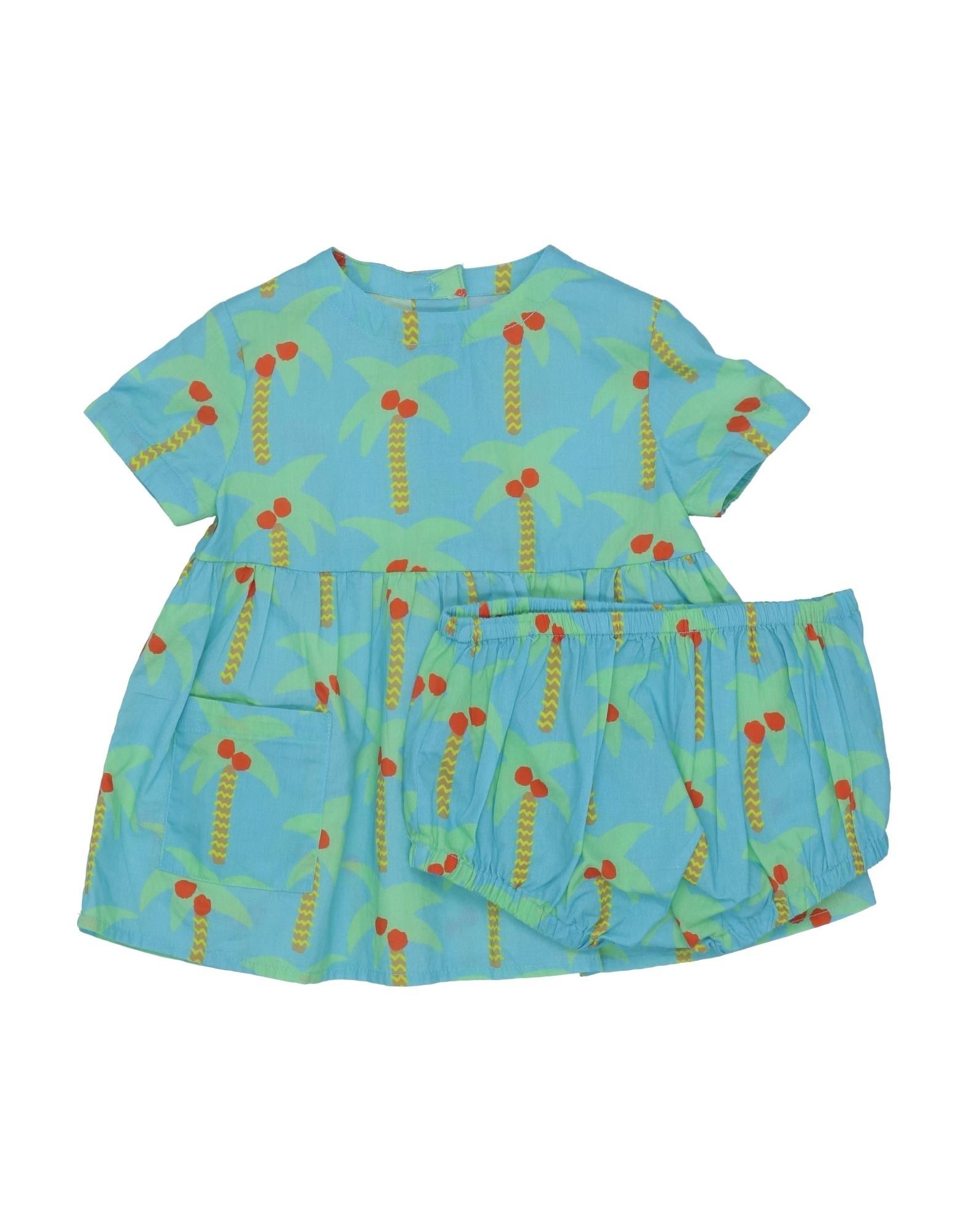 STELLA McCARTNEY KIDS Sets. plain weave, no appliqués, multicolor pattern, round collar, short sleeves, button closing, rear closure, inner shorts, 2-piece set, wash at 30degree c, do not dry clean, iron at 150degree c max, do not bleach, do not tumble dry. 100% Cotton