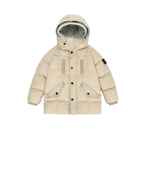 STONE ISLAND JUNIOR 40233 GARMENT DYED CRINKLE REPS NY DOWN Jacket Man Sand