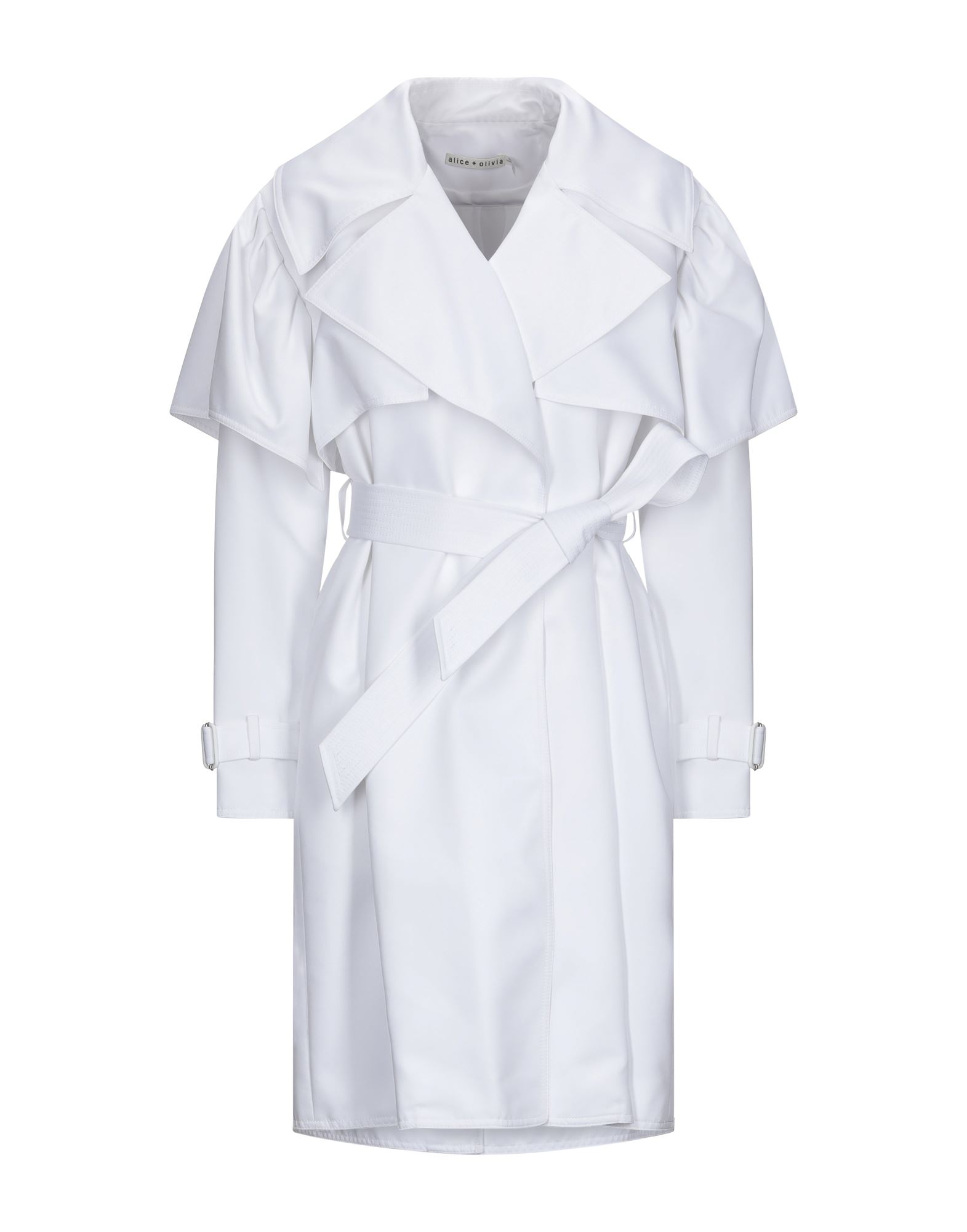 ALICE + OLIVIA Overcoats. crepe, belt, basic solid color, single-breasted, self-tie wrap closure, lapel collar, multipockets, long sleeves, strapped cuffs, rear slit, fully lined, large sized. 100% Polyester