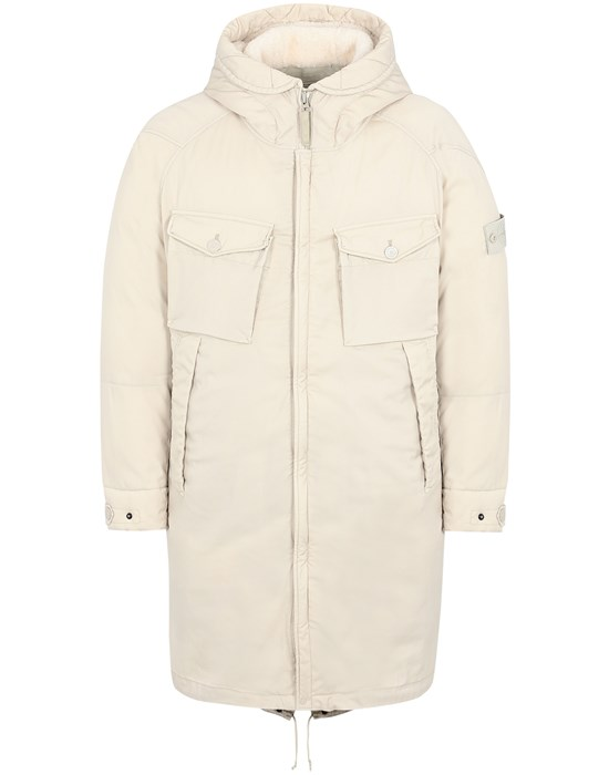 STONE ISLAND 716F2 STRETCH WOOL NYLON-TC DOWN_GHOST PIECE Mid-length jacket Man Beige