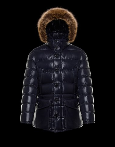 VEBER Dark blue Long Down Jackets Man