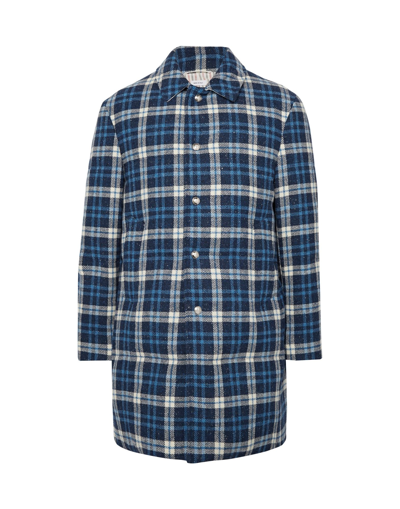 THOM BROWNE Coats. single-breasted, logo, tartan plaid, multipockets, long sleeves, fully lined. 100% Wool