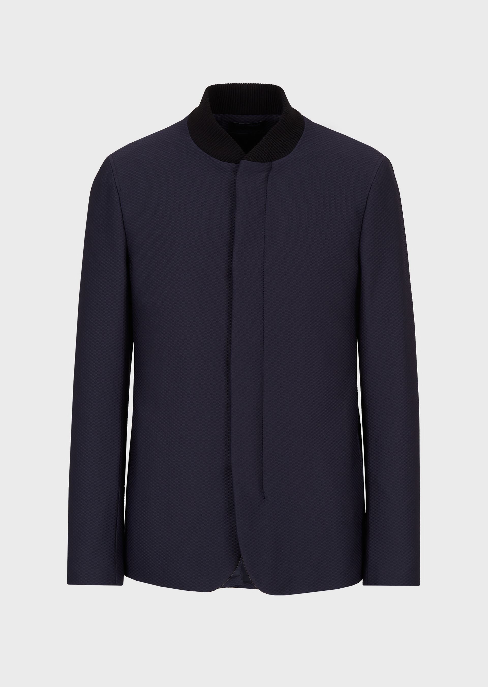EMPORIO ARMANI Jacket with Nehru collar in 3D-textured fabric