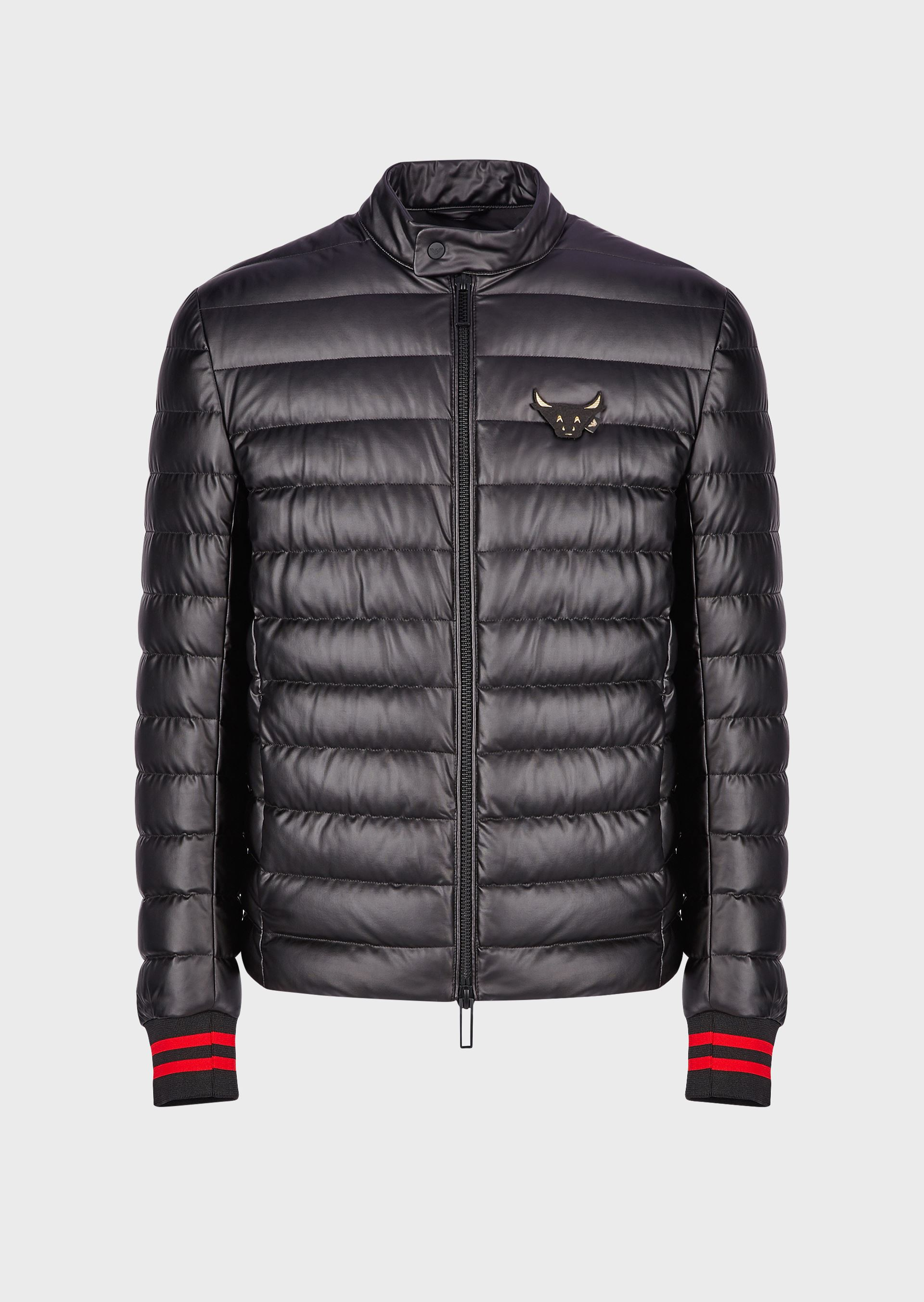 EMPORIO ARMANI Quilted puffer jacket with ox patch