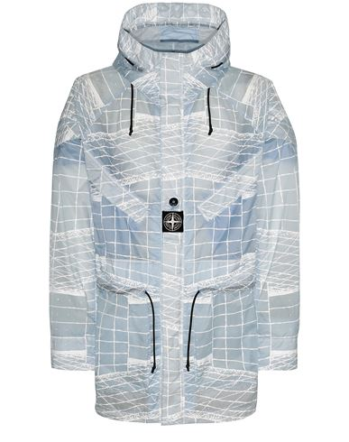 STONE ISLAND 42999 REFLECTIVE GRID ON LAMY-TC  Parka Man Sky Blue EUR 899