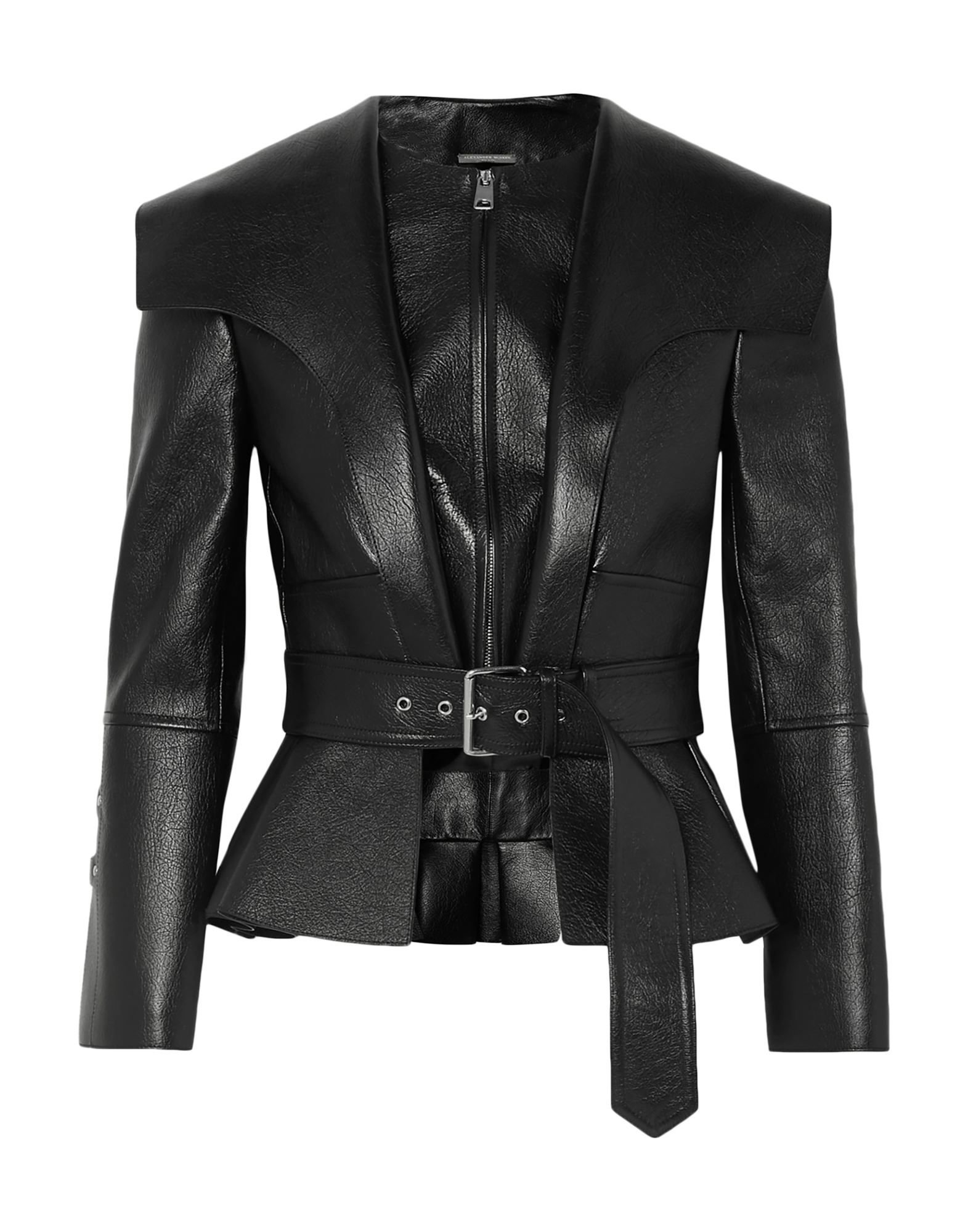 ALEXANDER MCQUEEN Jackets. leather, belt, strap detailing, basic solid color, single-breasted, zipper closure, round collar, no pockets, long sleeves, fully lined, contains non-textile parts of animal origin, small sized. 100% Lambskin