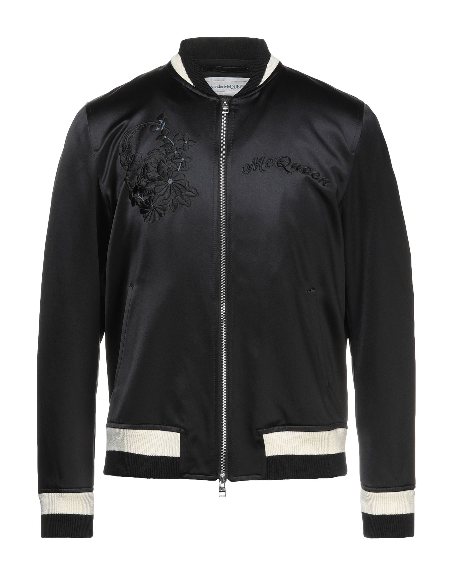 ALEXANDER MCQUEEN Jackets. satin, logo, embroidered detailing, solid color, single-breasted, zipper closure, round collar, multipockets, two inside pockets, long sleeves, fully lined. 60% Cotton, 40% Silk, Viscose, Polyester