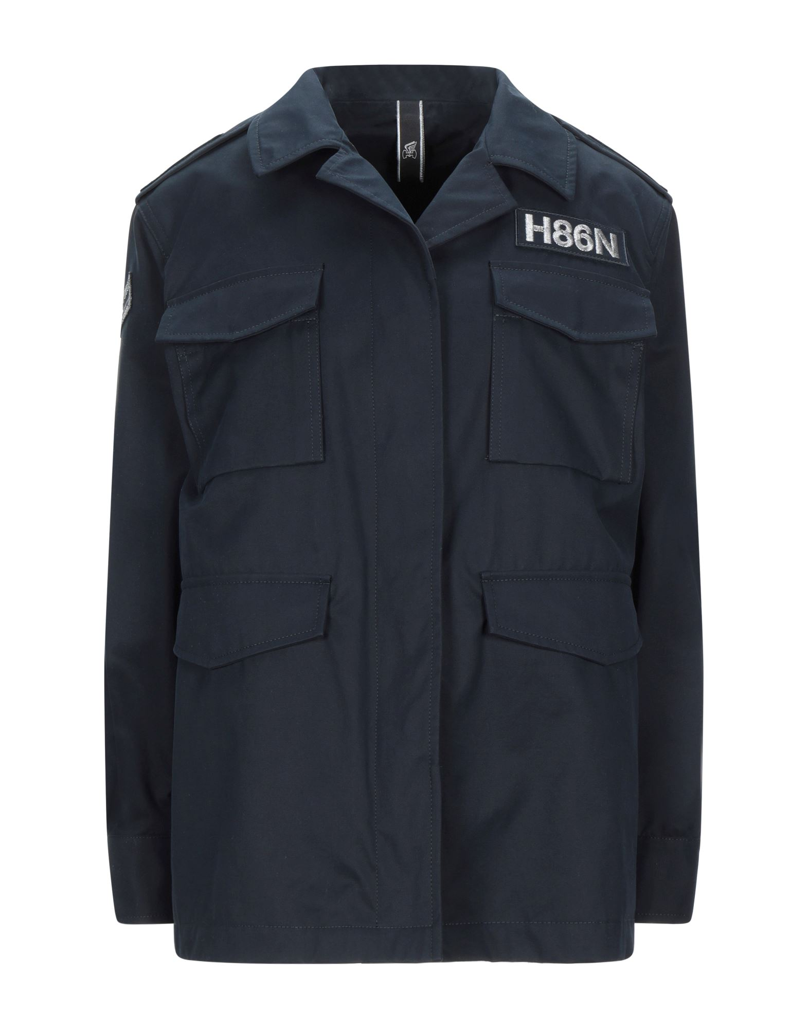 HOGAN Jackets. twill, lamé, contrasting applications, flashes, solid color, button closing, single-breasted, lapel collar, multipockets, long sleeves, semi-lined. 100% Cotton