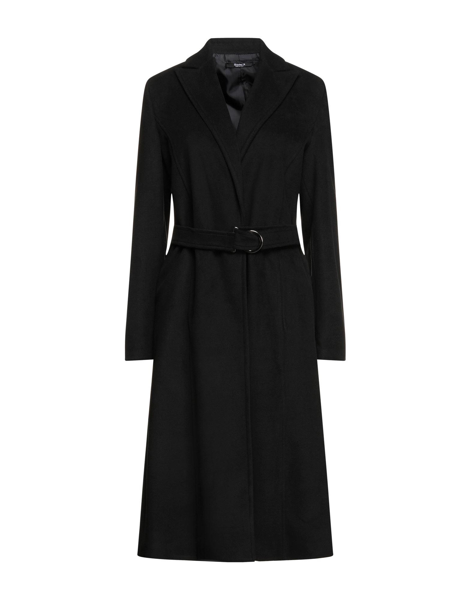 《セール開催中》SISTE' S レディース コート ブラック 40 ポリエステル 92% / ポリウレタン 8%