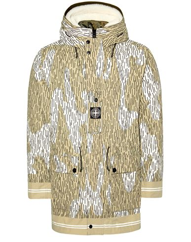 STONE ISLAND 429E1 NASLAN LIGHT WATRO RAIN CAMO REFLECTIVE WITH DETACHABLE NYLON RASO/SHEEPSKIN LINING Mid-length jacket Man Ecru EUR 2499