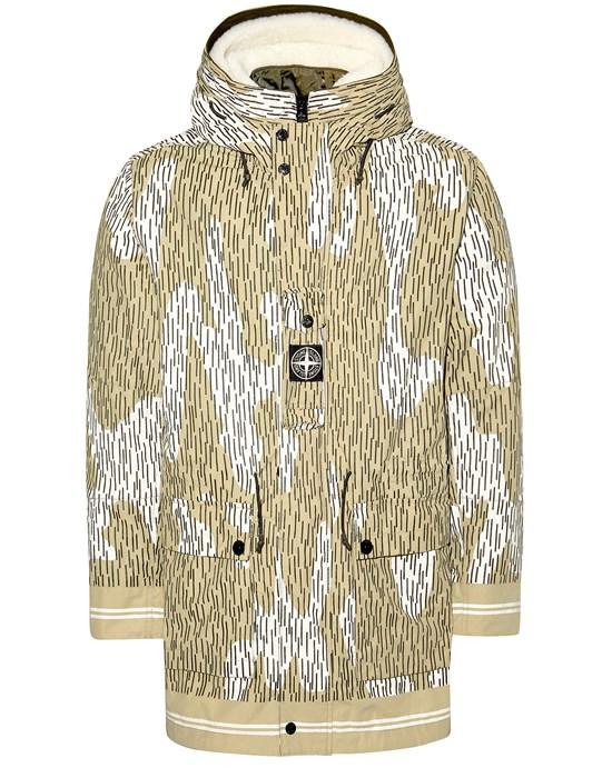 Mid-length jacket Man 429E1 NASLAN LIGHT WATRO RAIN CAMO REFLECTIVE WITH DETACHABLE NYLON RASO/SHEEPSKIN LINING Front STONE ISLAND