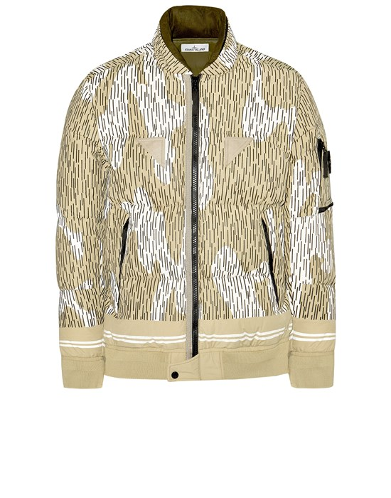 STONE ISLAND 433E1 NASLAN LIGHT WATRO 'RAIN CAMO' REFLECTIVE_DOWN Mid-length jacket Man Ecru